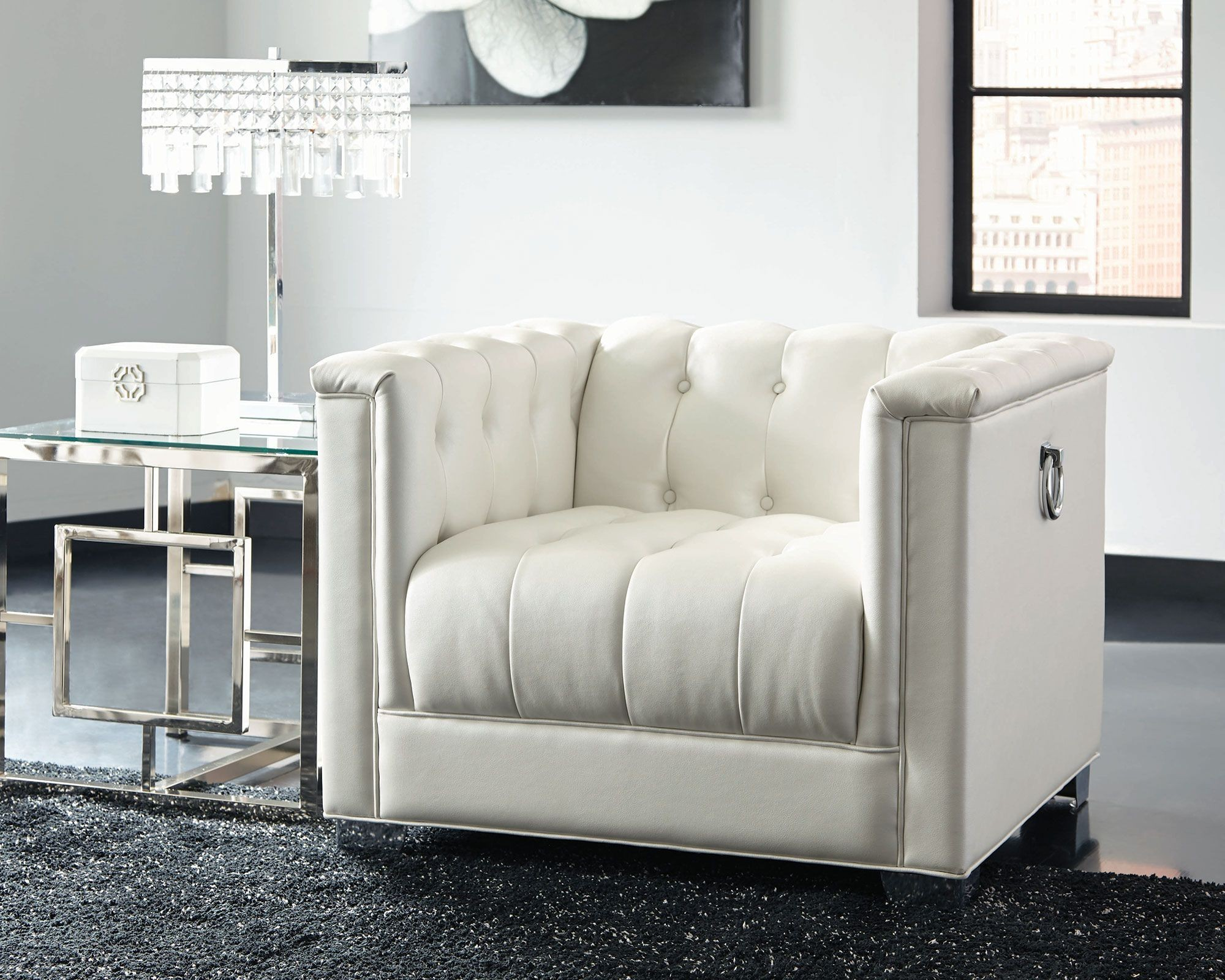 Chaviano Pearl White Tufted Chair From Coaster Coleman