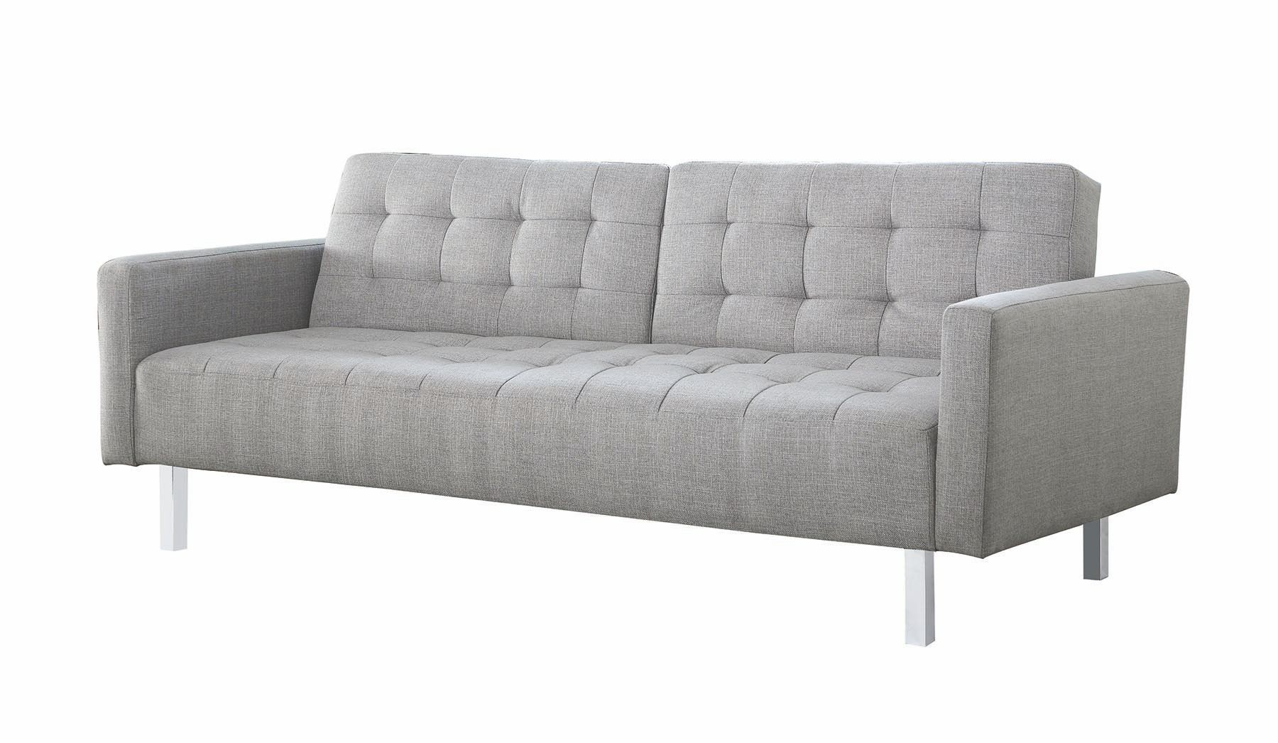 Light grey sofa bed from coaster coleman furniture for Sofa bed grey