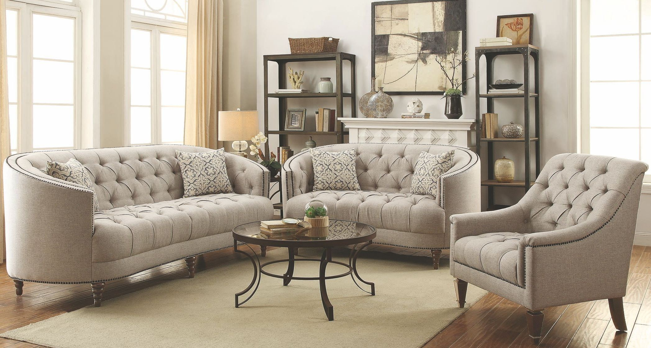 Avonlea stone grey living room set from coaster coleman for Living room sets