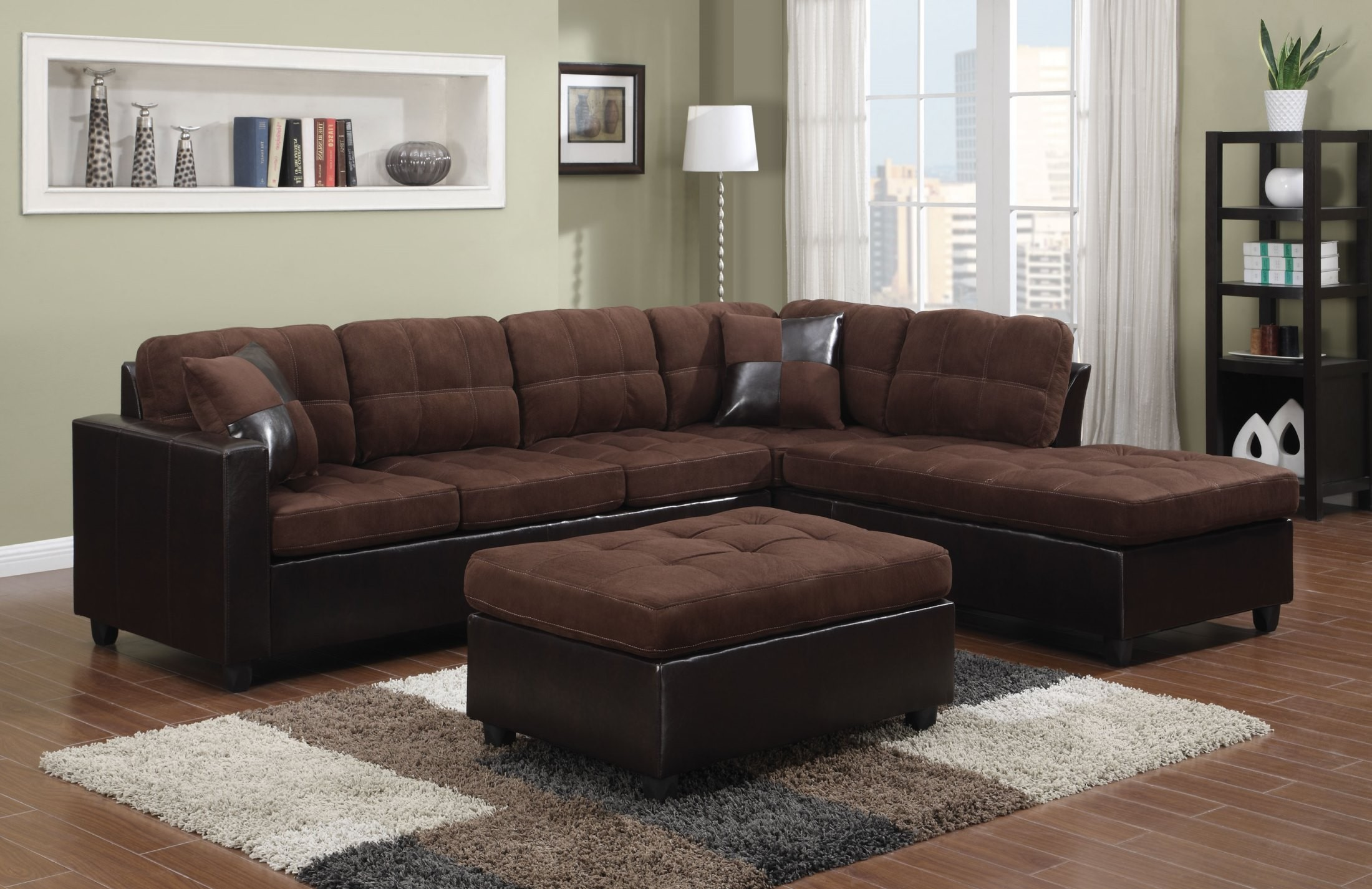 Mallory chocolate sectional from coaster 505655 for Affordable furniture 3 piece sectional in jesse cocoa