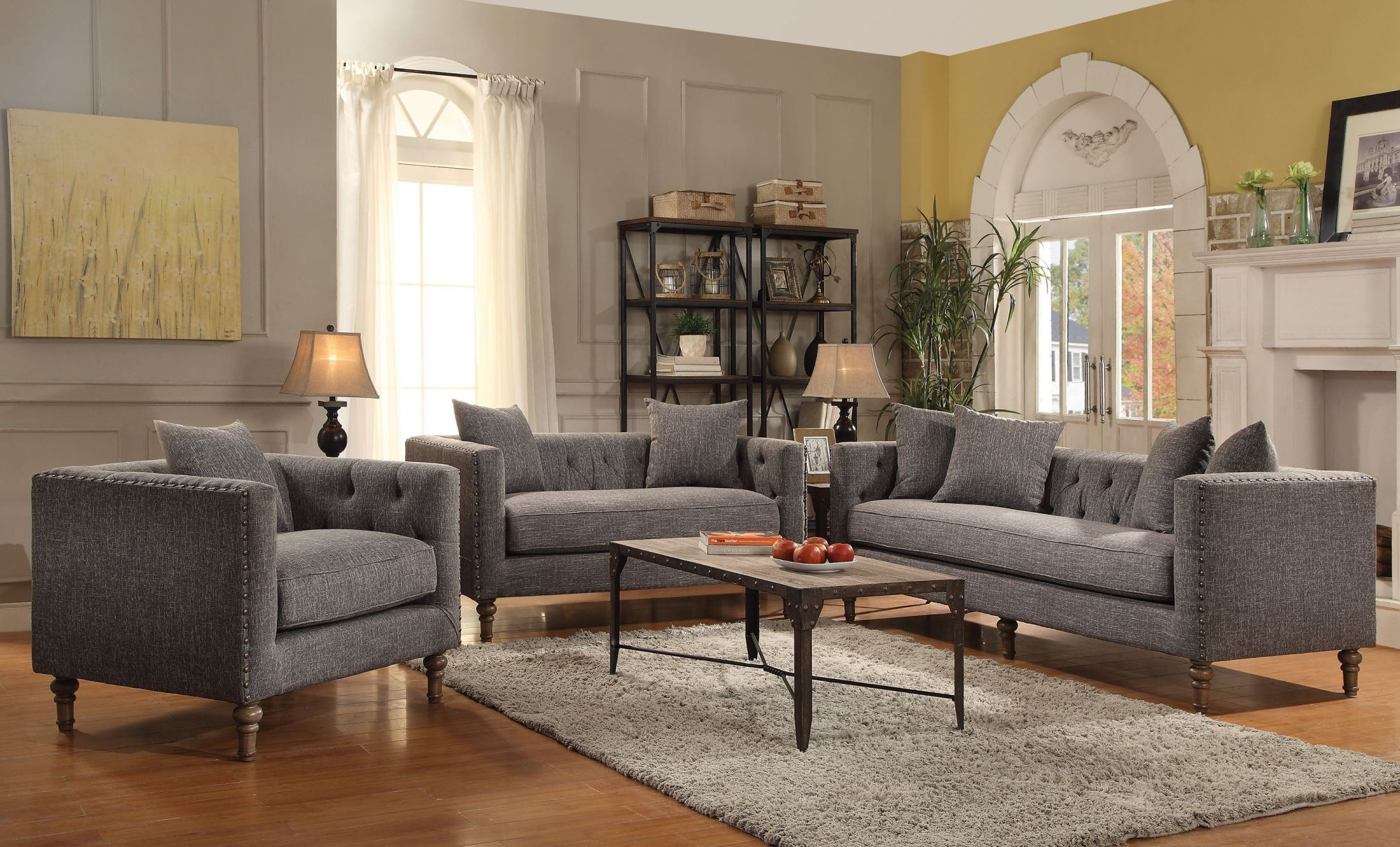 Ellery grey living room set from coaster 505771 for Grey front room furniture