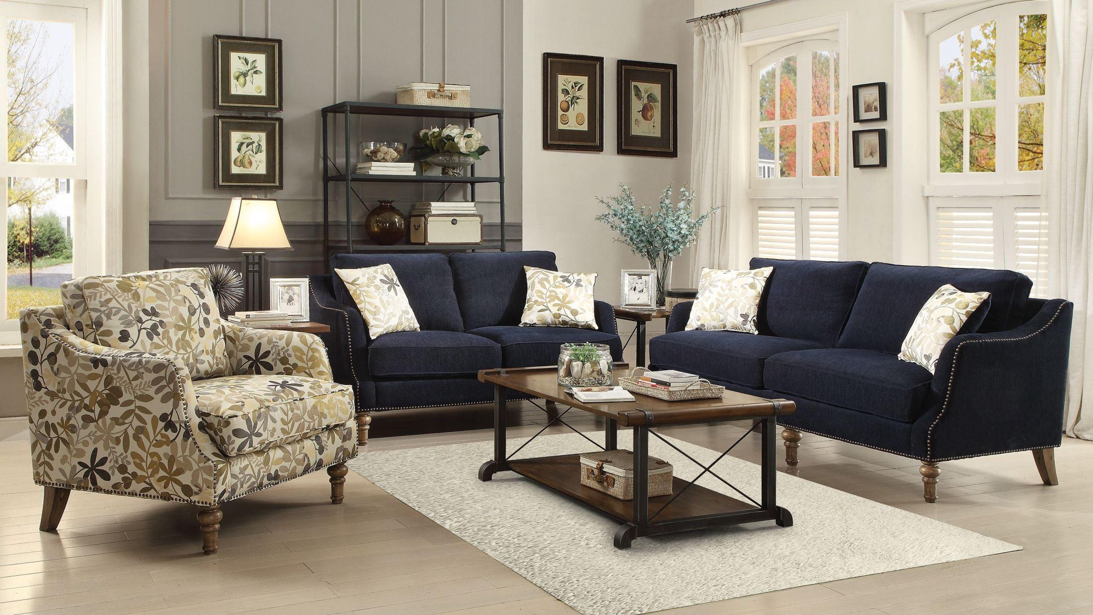 Vessot Ink Blue Living Room Set From Coaster (505791
