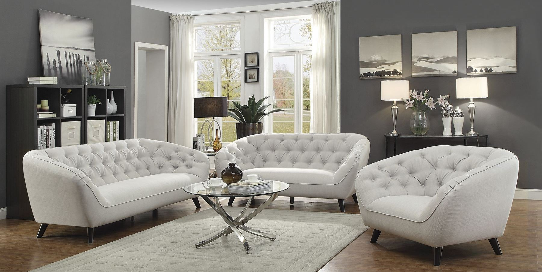 Faymoor klein silver living room set 505911 coaster furniture