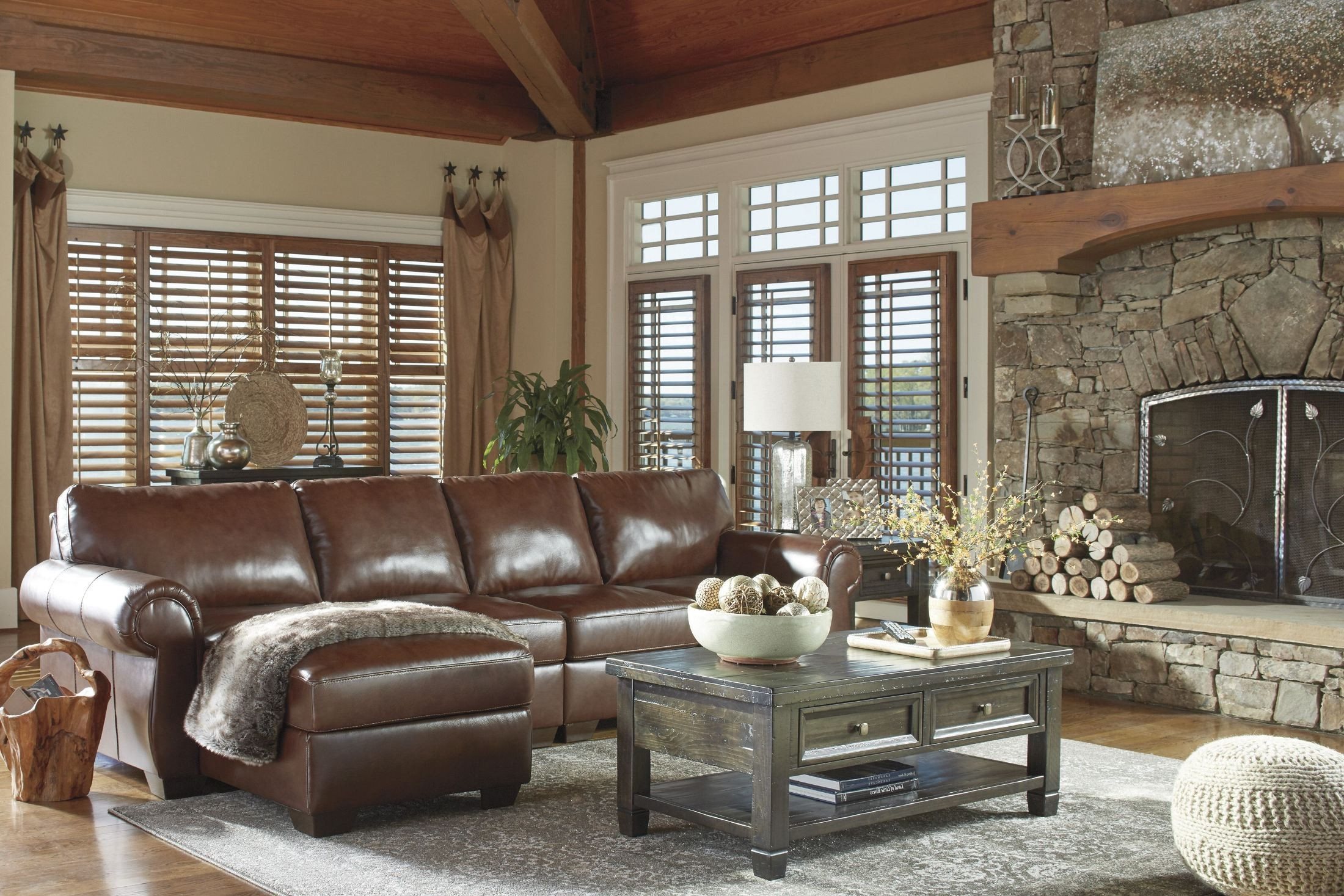 Lugoro saddle laf sectional from ashley coleman furniture for Affordable furniture 3 piece sectional in wyoming saddle