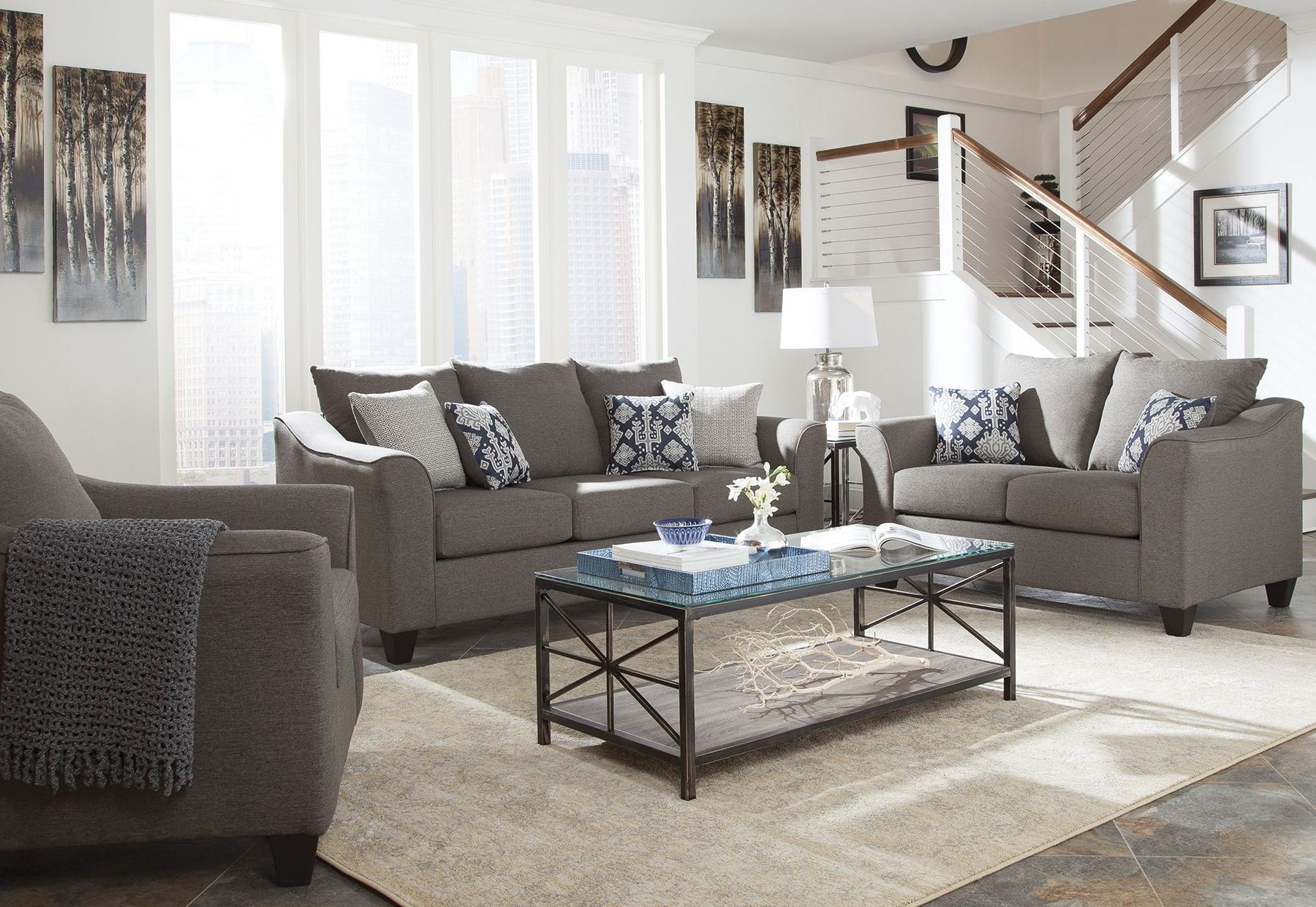 Salizar gray living room set from coaster coleman furniture for Front room furniture sets