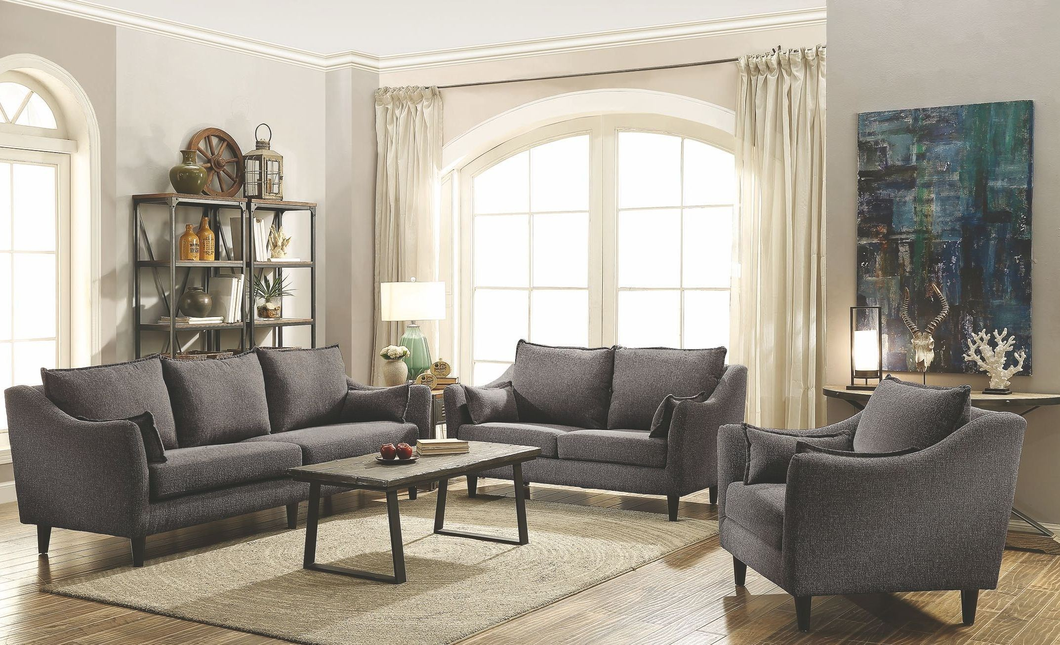 Rhys dark grey living room set from coaster coleman for Gray living room black furniture