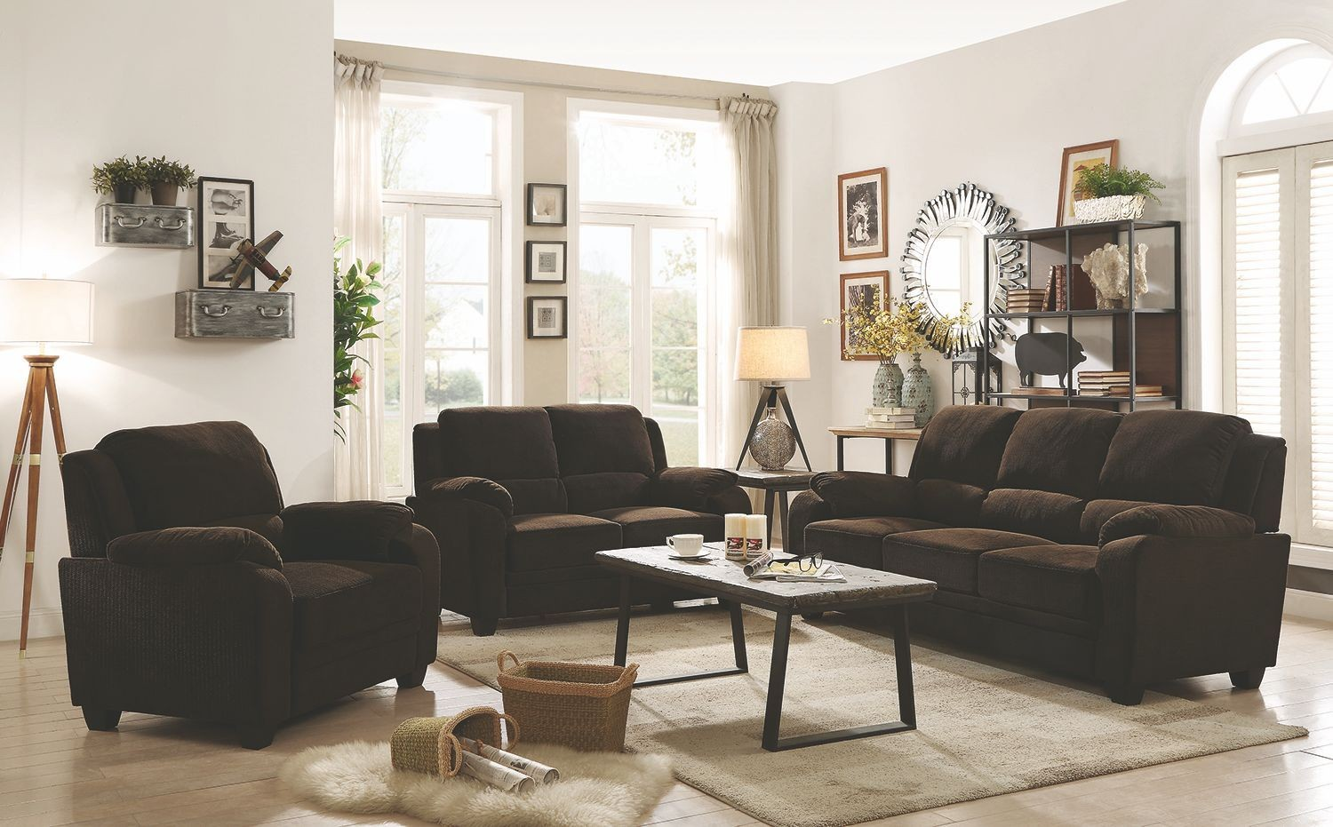 Northend chocolate living room set 506244 45 coaster for Living room north end