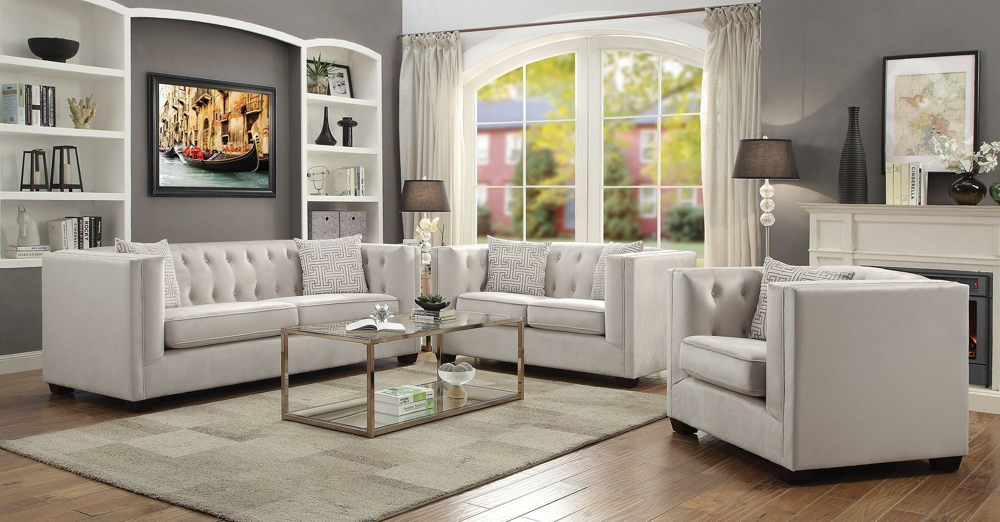 sunderland ivory living room set from coaster coleman furniture. Black Bedroom Furniture Sets. Home Design Ideas