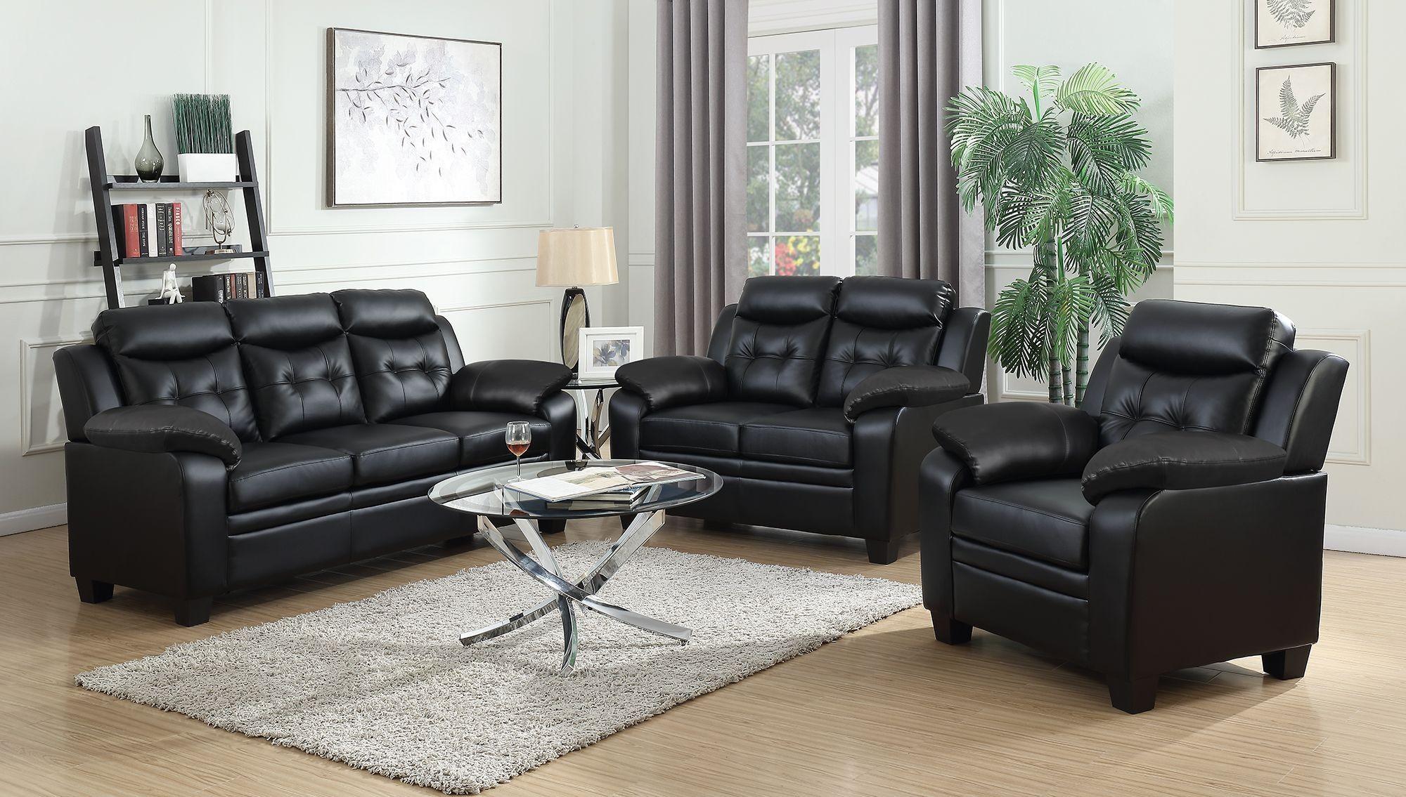 finley black living room set from coaster coleman furniture. Black Bedroom Furniture Sets. Home Design Ideas