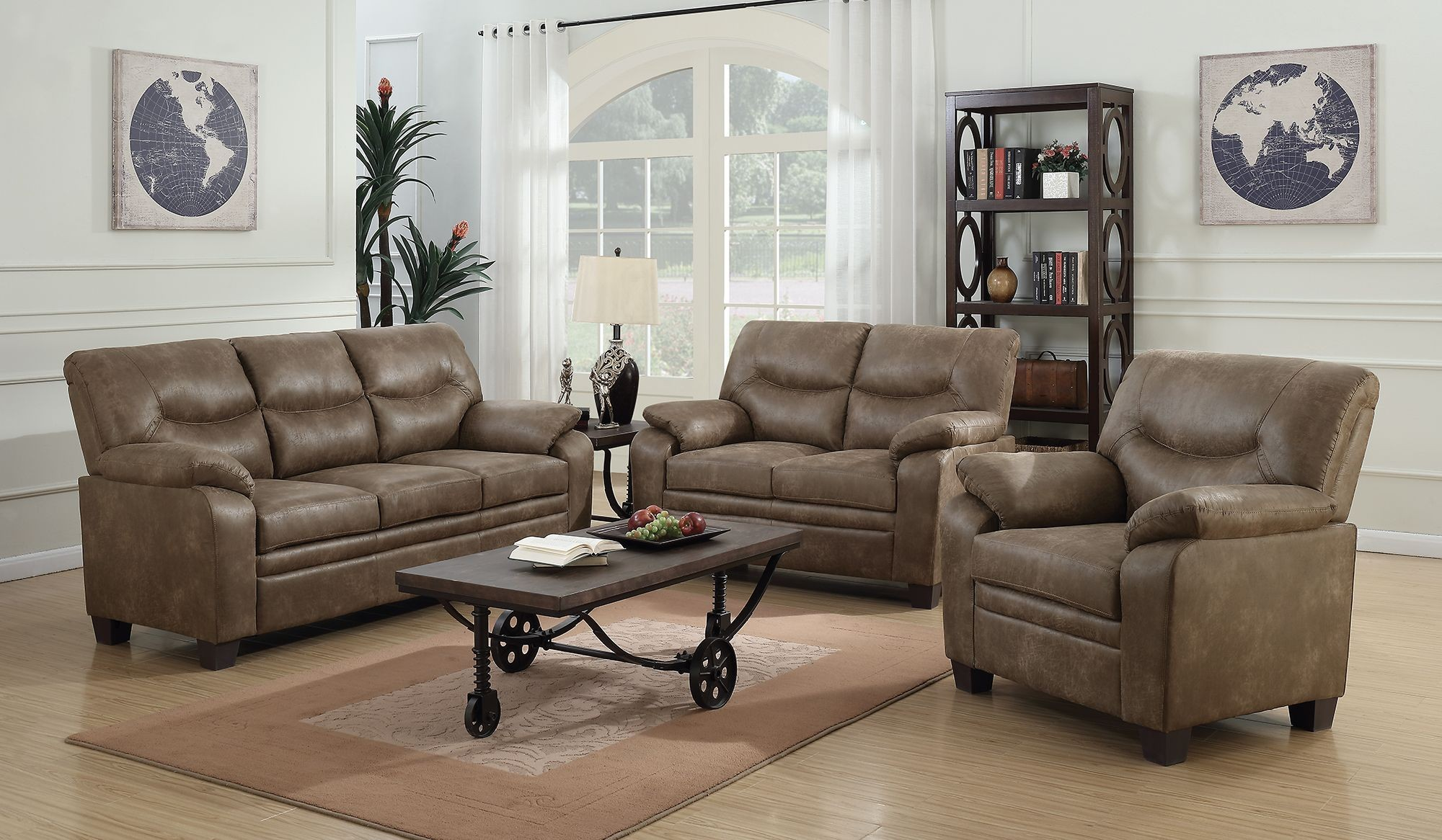 Meagan brown living room set 506561 62 coaster furniture for Front room furniture sets