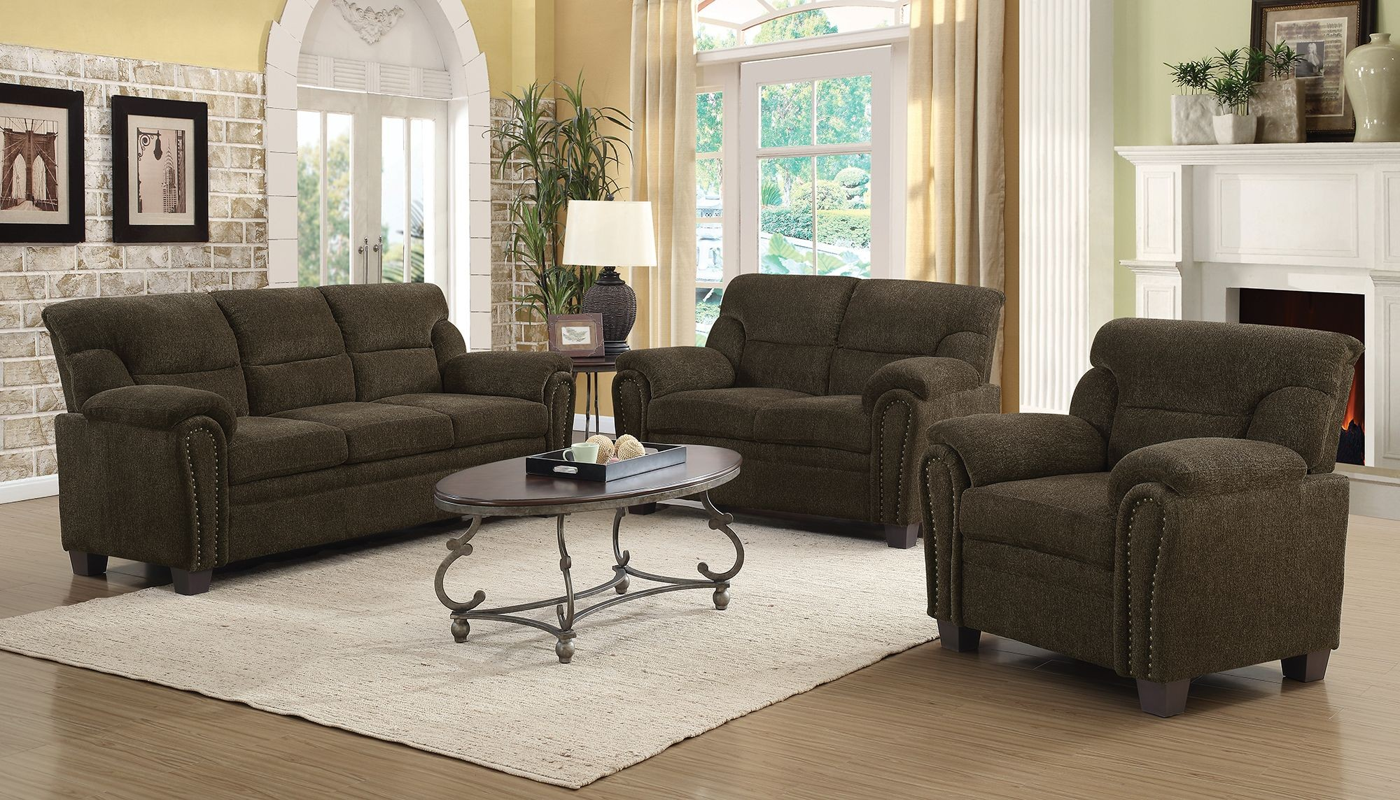 Clementine brown living room set 506571 72 coaster furniture for Front room furniture sets