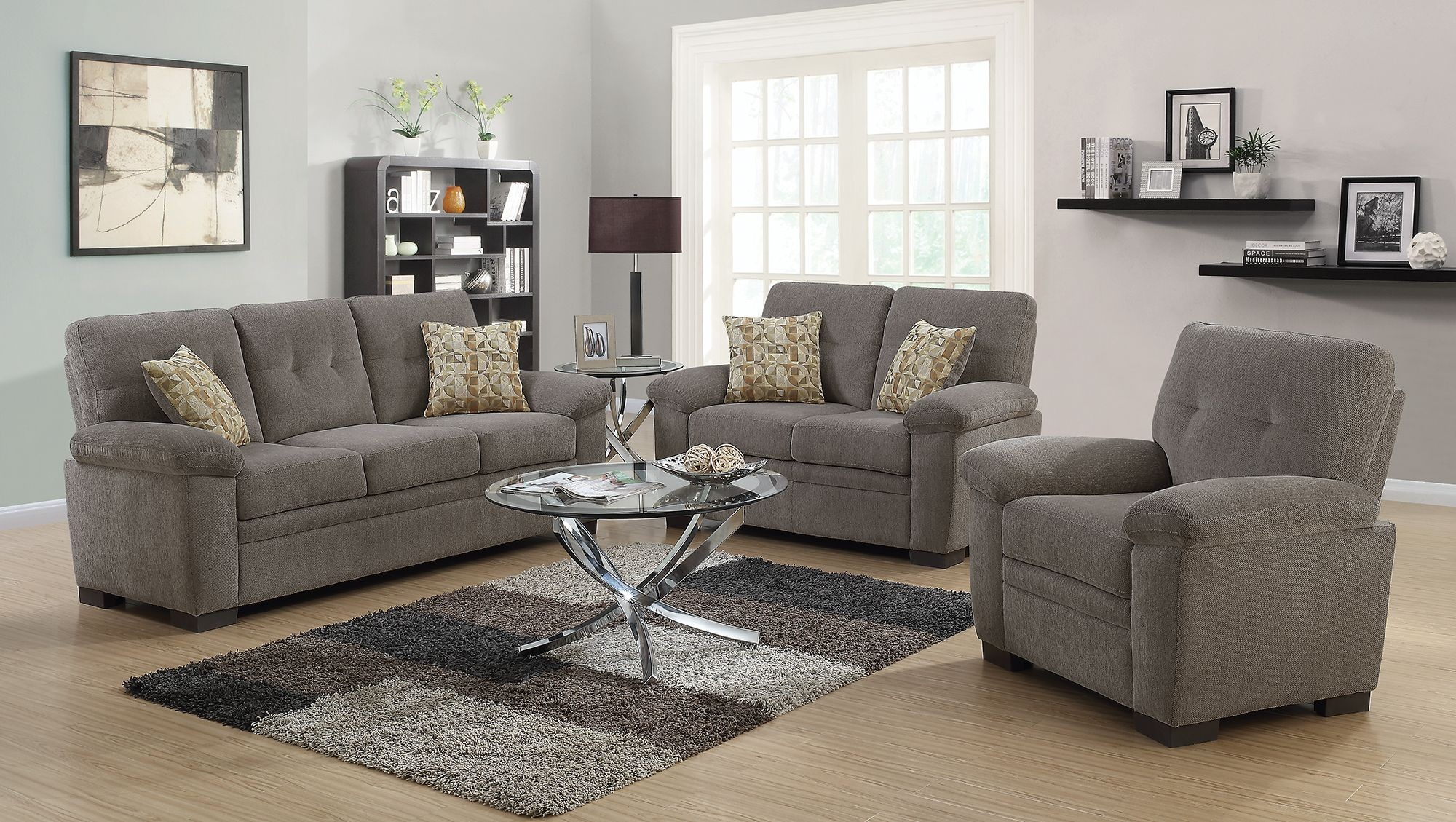 Fairbairn oatmeal living room set 506581 82 coaster for Front room furniture sets