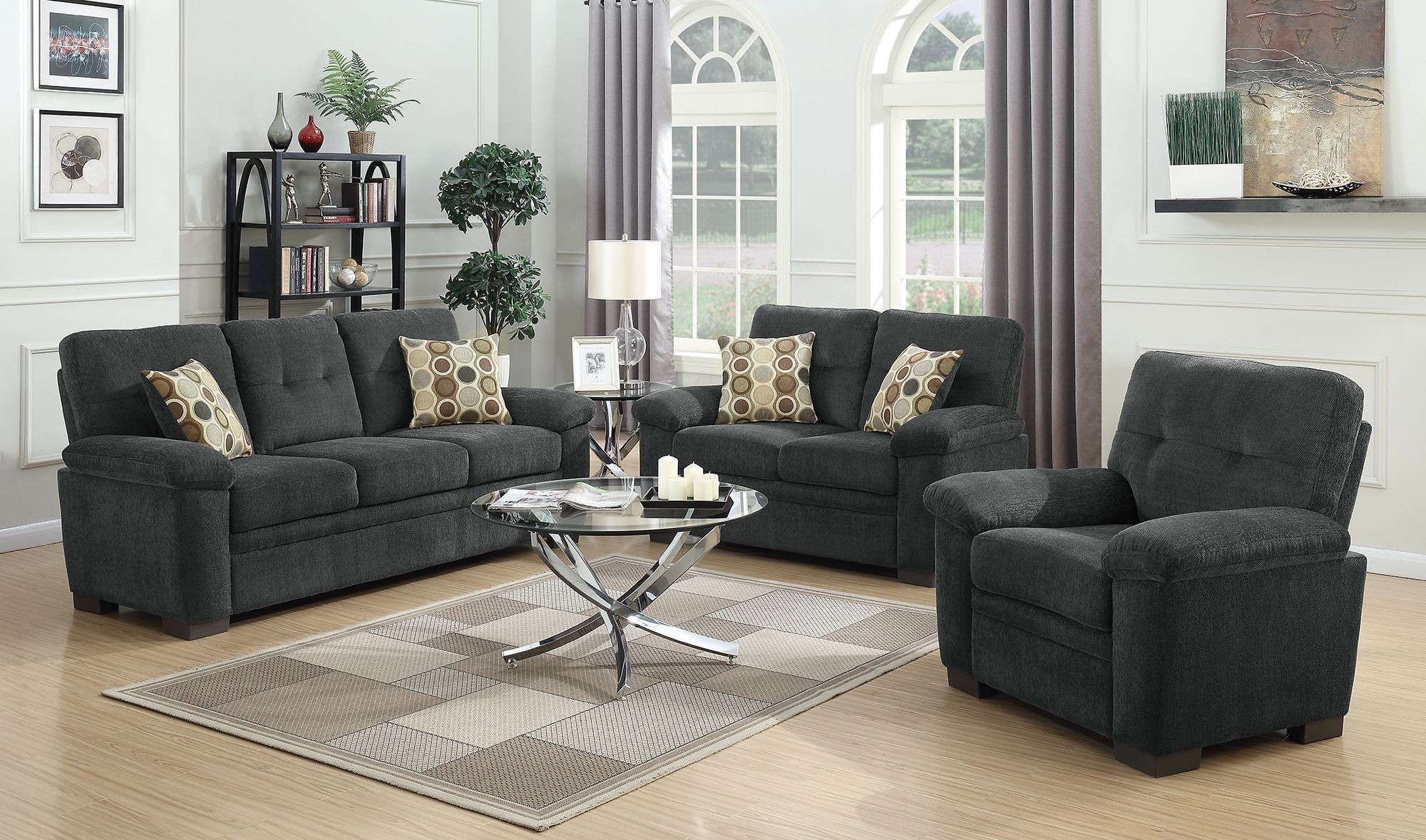 charcoal living room furniture fairbairn charcoal living room set 506584 85 coaster 12794