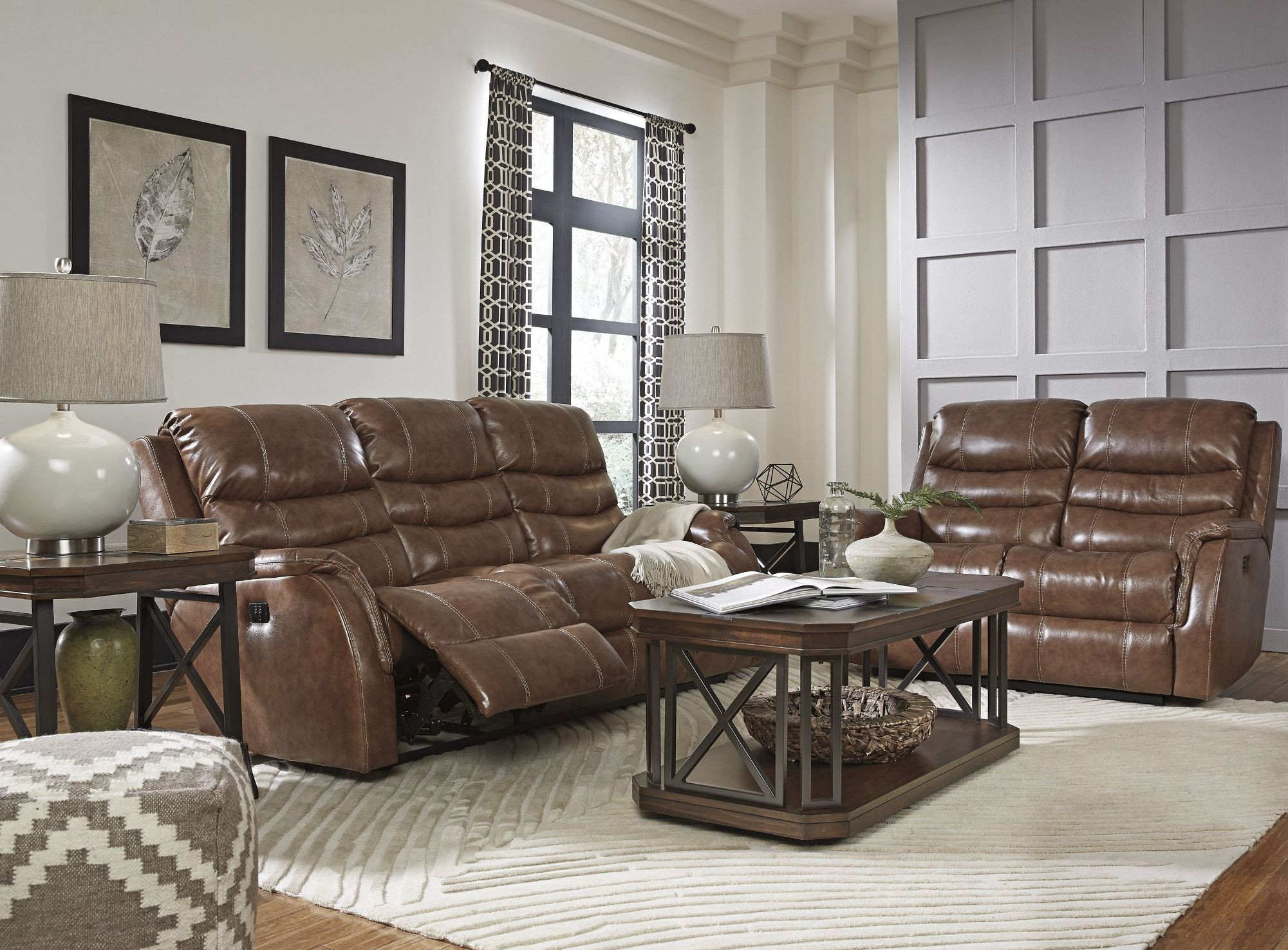 Metcalf Nutmeg Power Reclining Living Room Set From Ashley