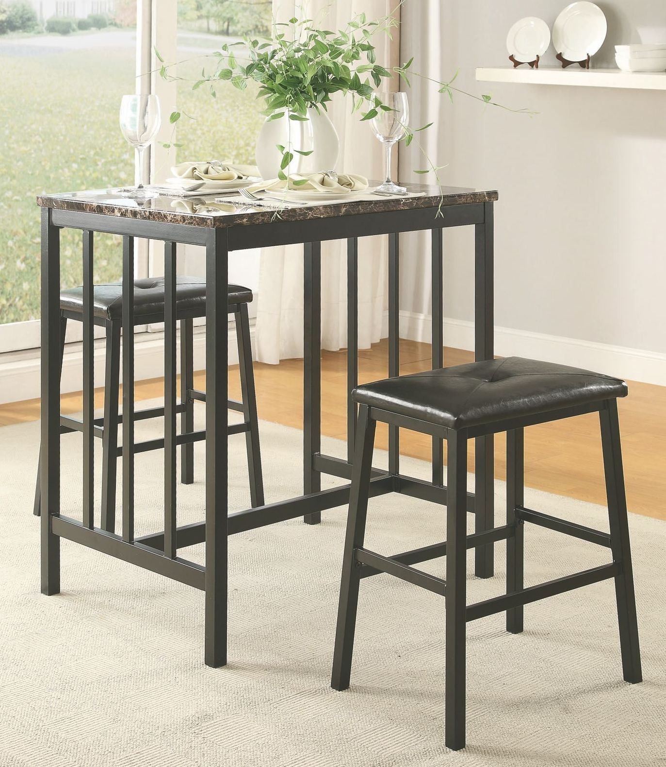 Edgar 3Pc Pack Faux Marble Counter Height Set from Homelegance