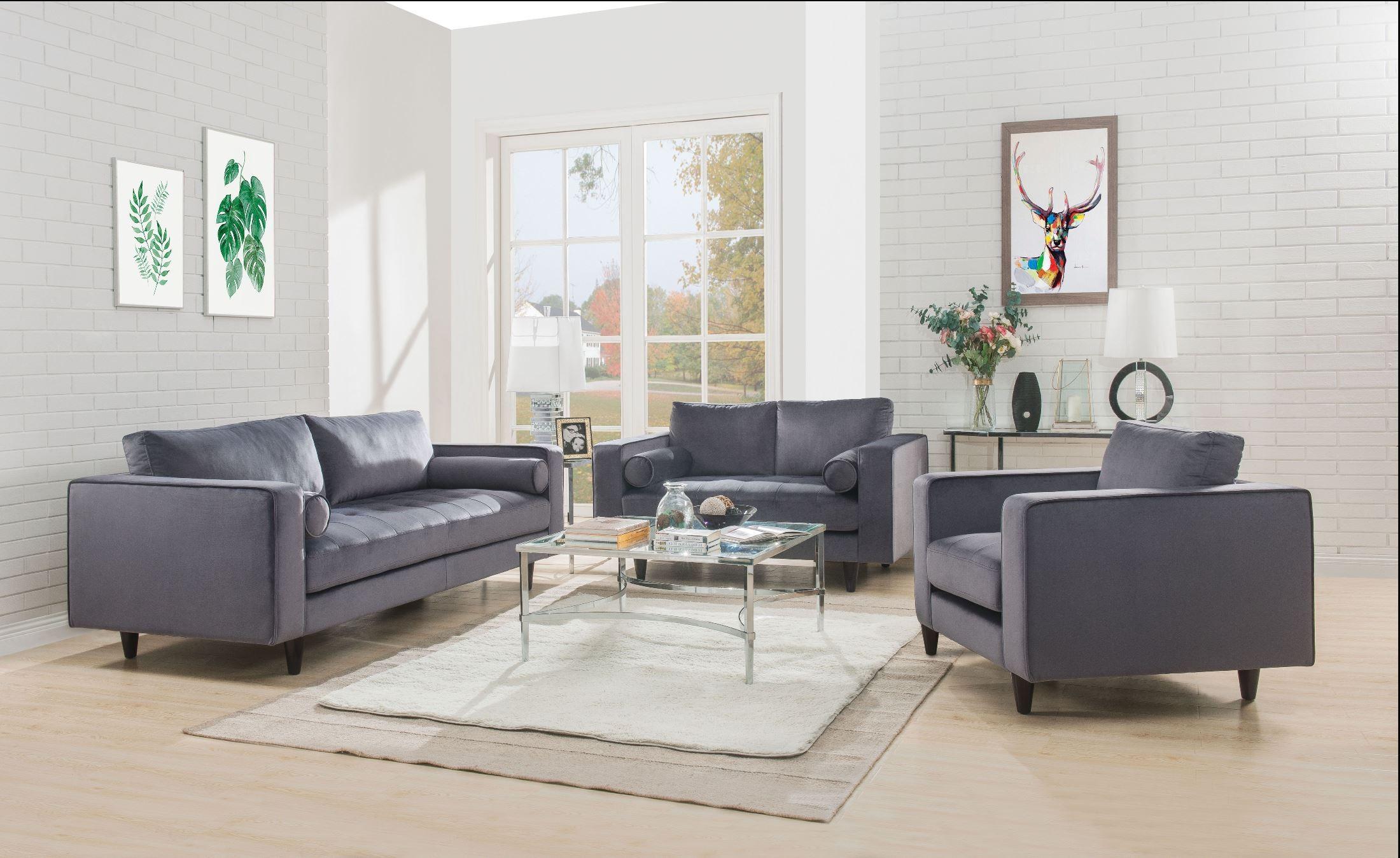 Heather Gray Velvet Living Room Set from ACME Furniture | Coleman ...