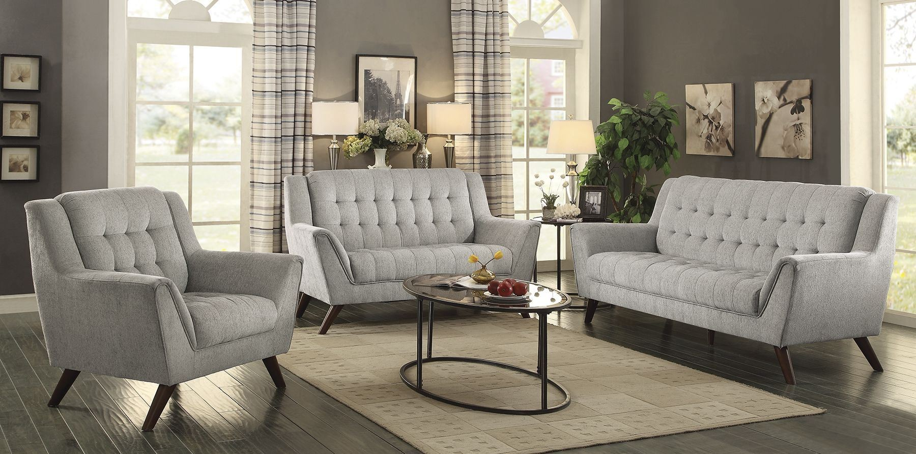 Baby natalia dove gray living room set from coaster for Front room furniture sets
