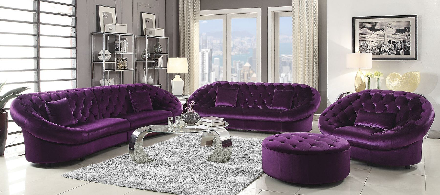 Romanus Purple Velvet Living Room Set 511046 Coaster