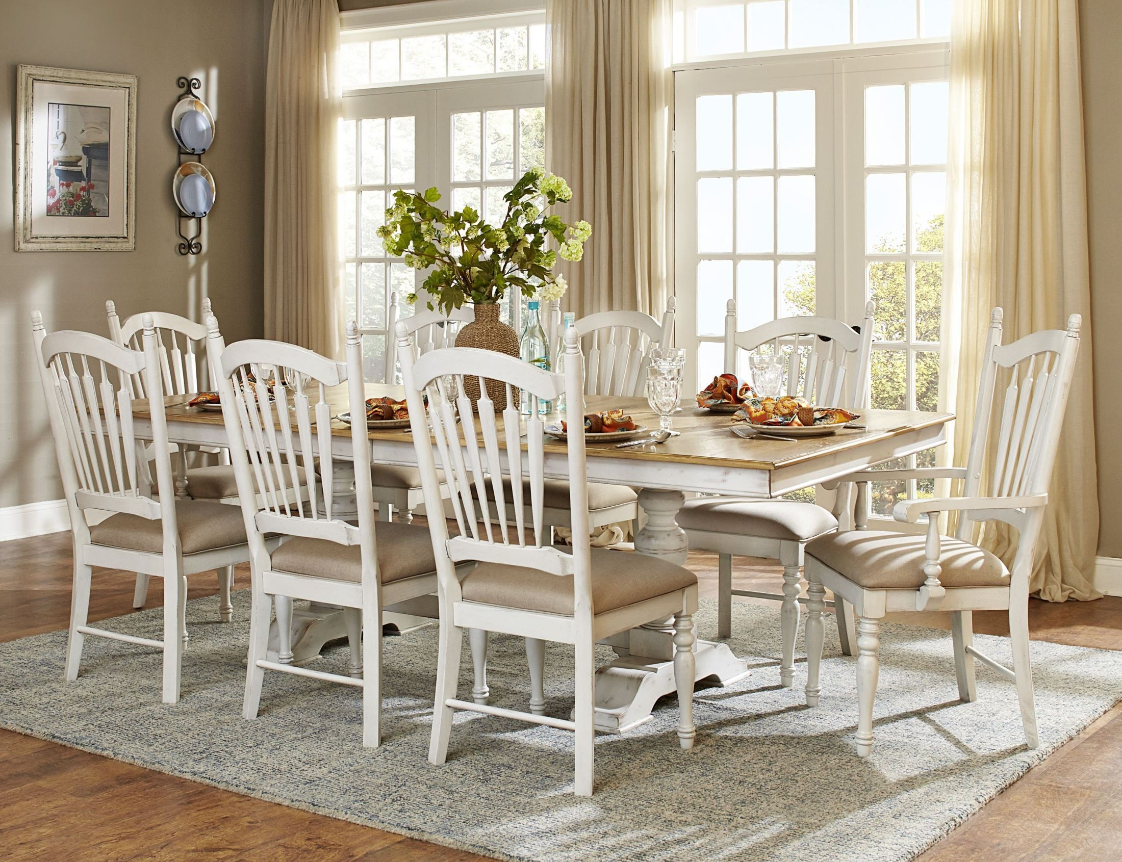 Superb Hollyhock Distressed White Dining Room Set. 937681. 776777