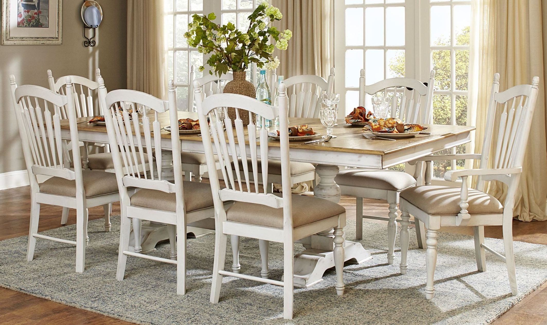 Hollyhock distressed white dining room set from for White wood dining room chairs