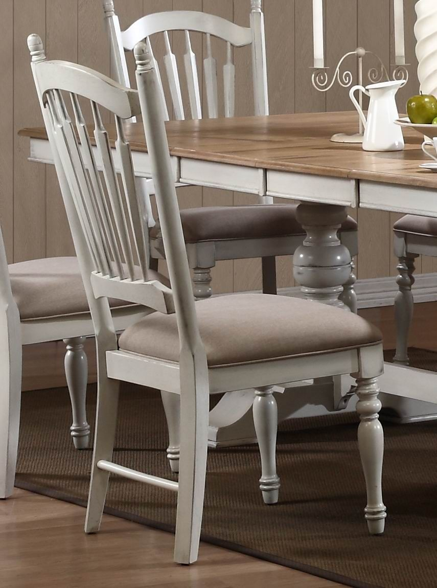 Hollyhock distressed white dining room set from for White dining room furniture