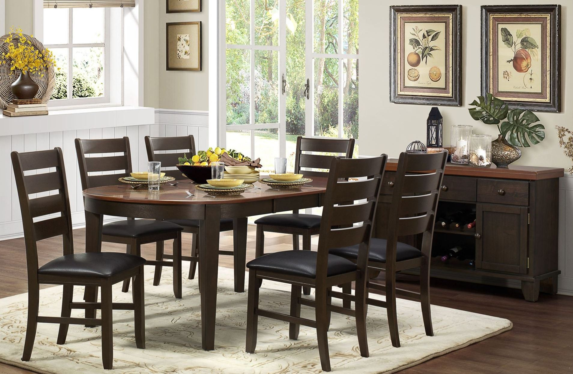 Grunwald dark brown uv coating top dining room set from for Dark brown dining room