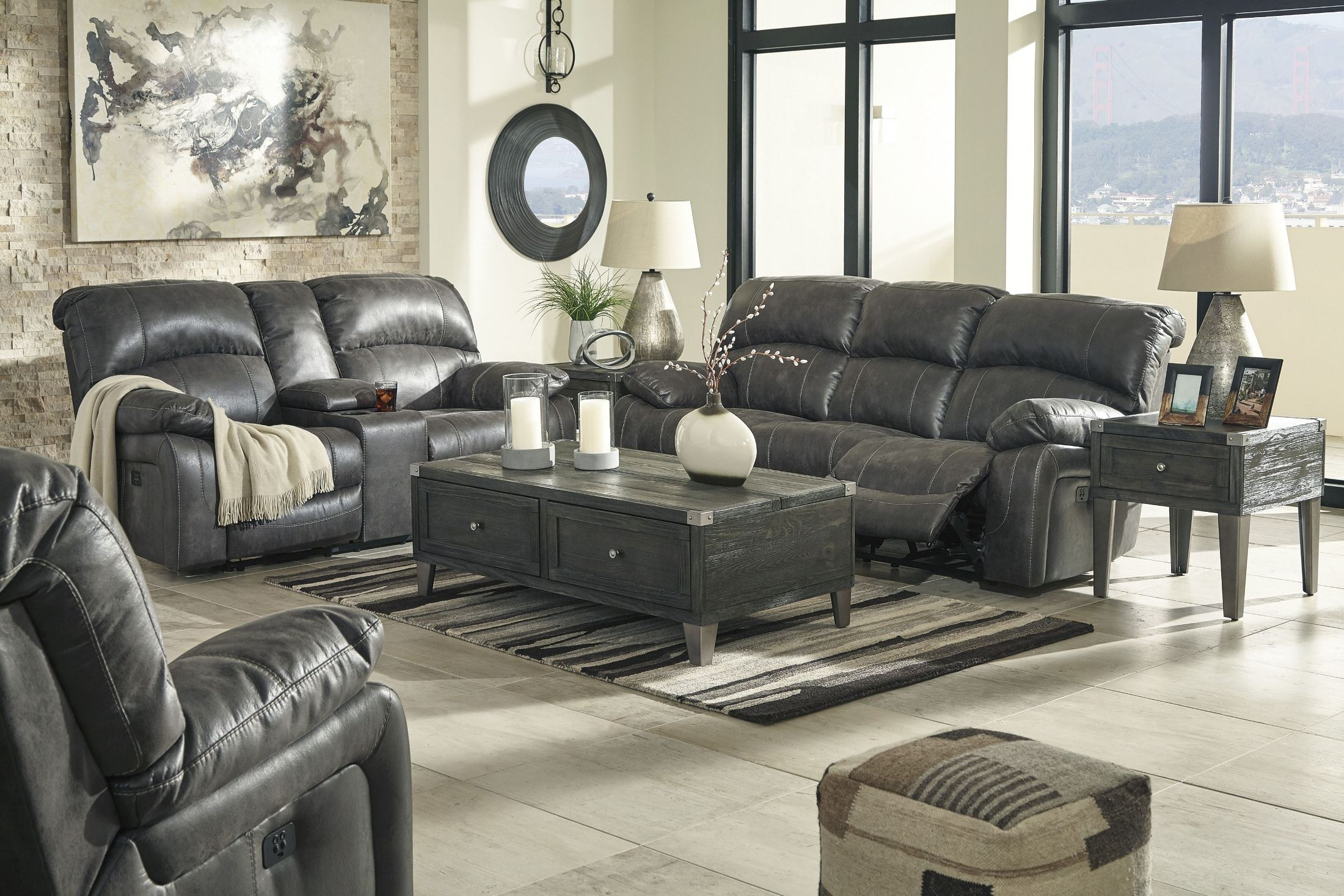 Dunwell steel power reclining living room set from ashley for Front room furniture sets