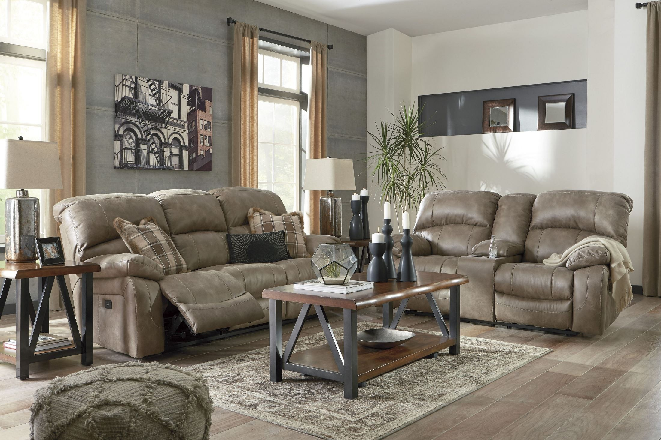 Dunwell Driftwood Power Reclining Living Room Set From