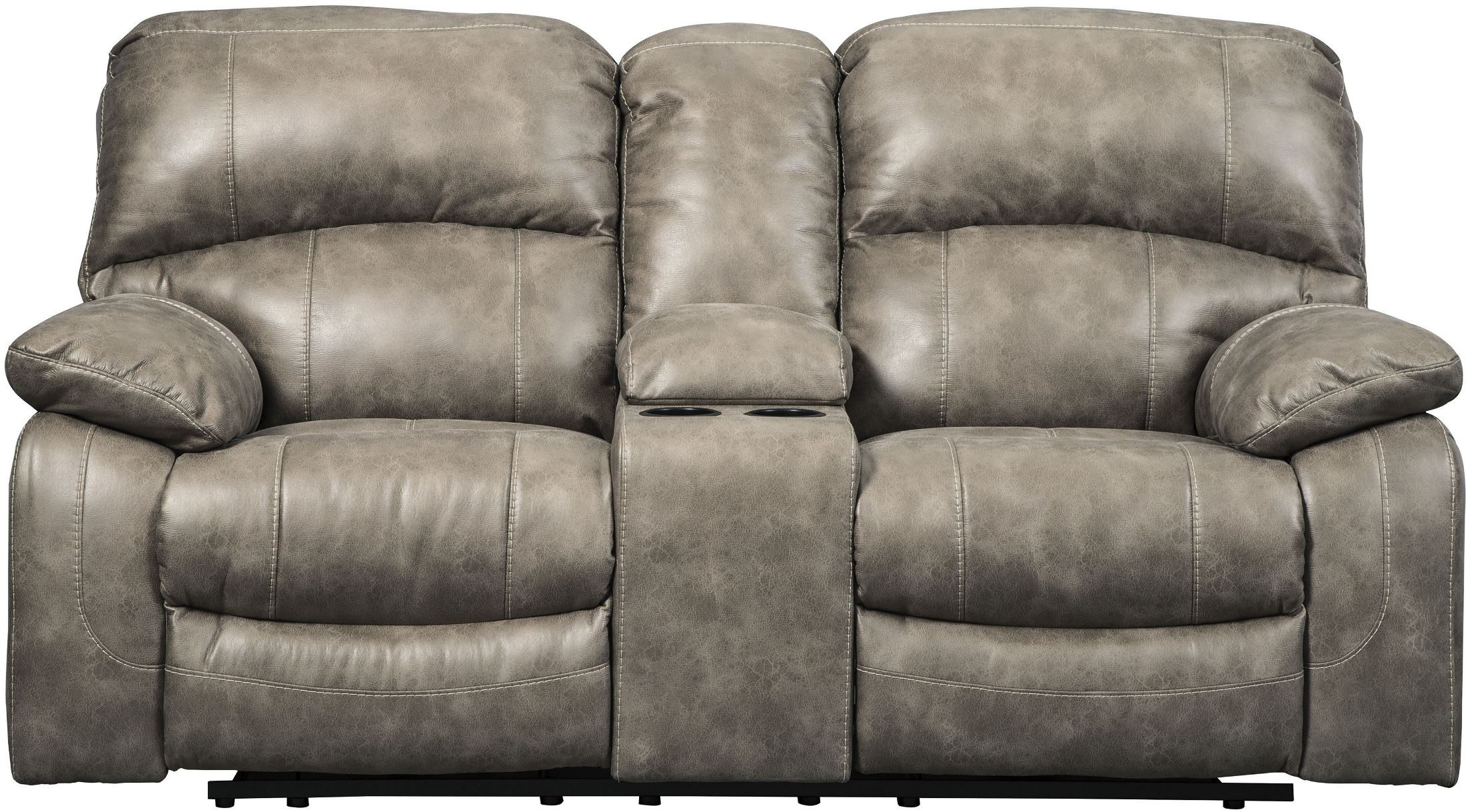 Dunwell Driftwood Power Reclining Console Loveseat With Adjustable