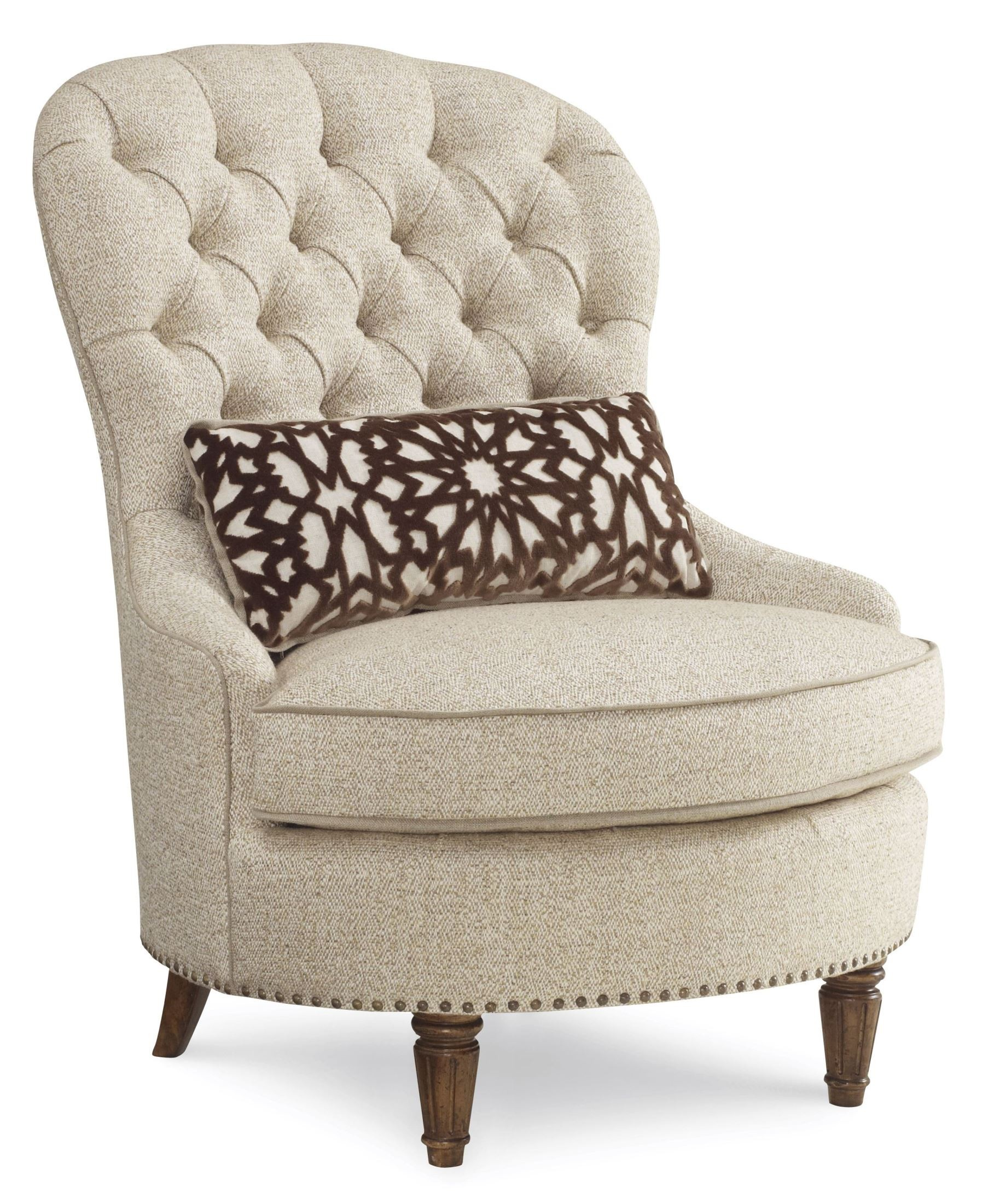 Collection one upholstered tufted accent chair from art for Upholstered accent chairs cheap