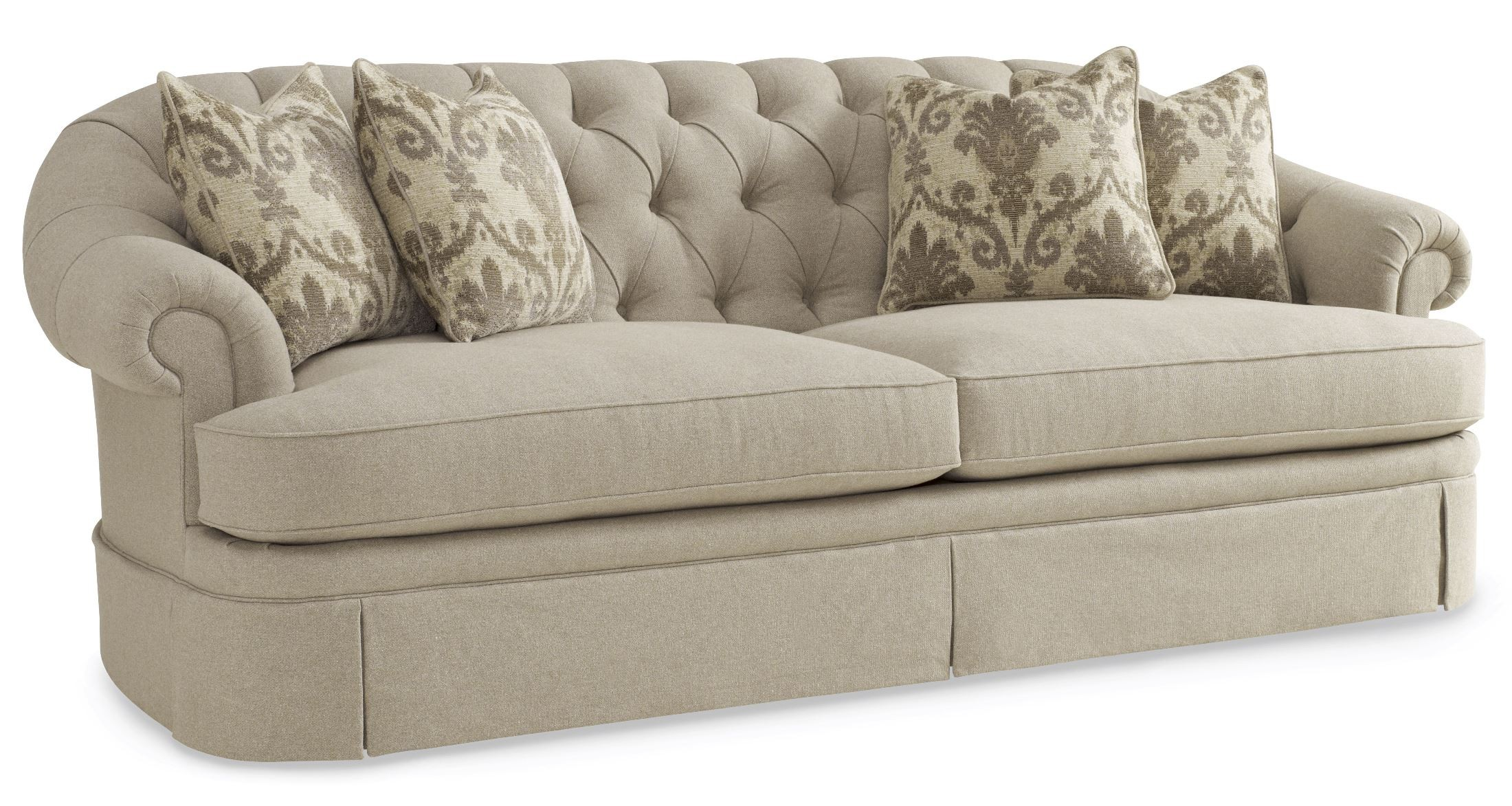 Collection one upholstered oxford tufted skirted sofa from art 517521 5001aa coleman furniture Upholstered sofas and loveseats