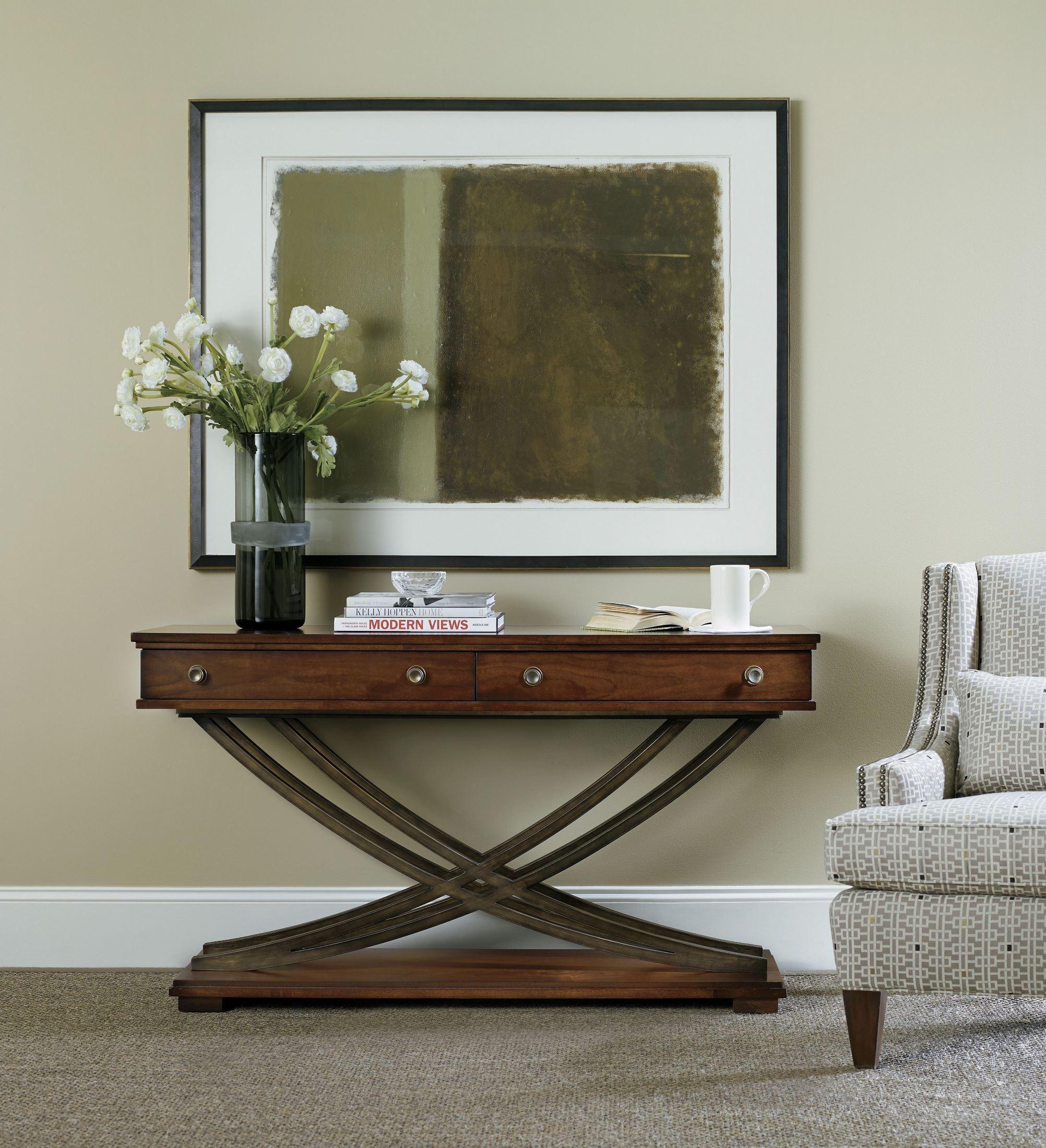 palisade dark wood cross base console table from hooker coleman furniture. Black Bedroom Furniture Sets. Home Design Ideas