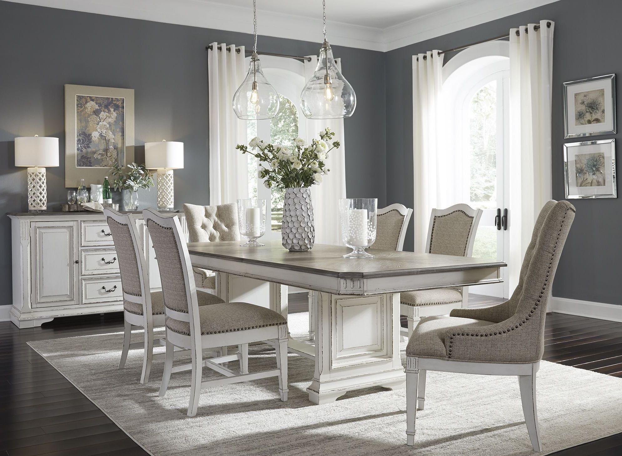 Bon Abbey Park Antique White Trestle Dining Room Set From Liberty | Coleman  Furniture