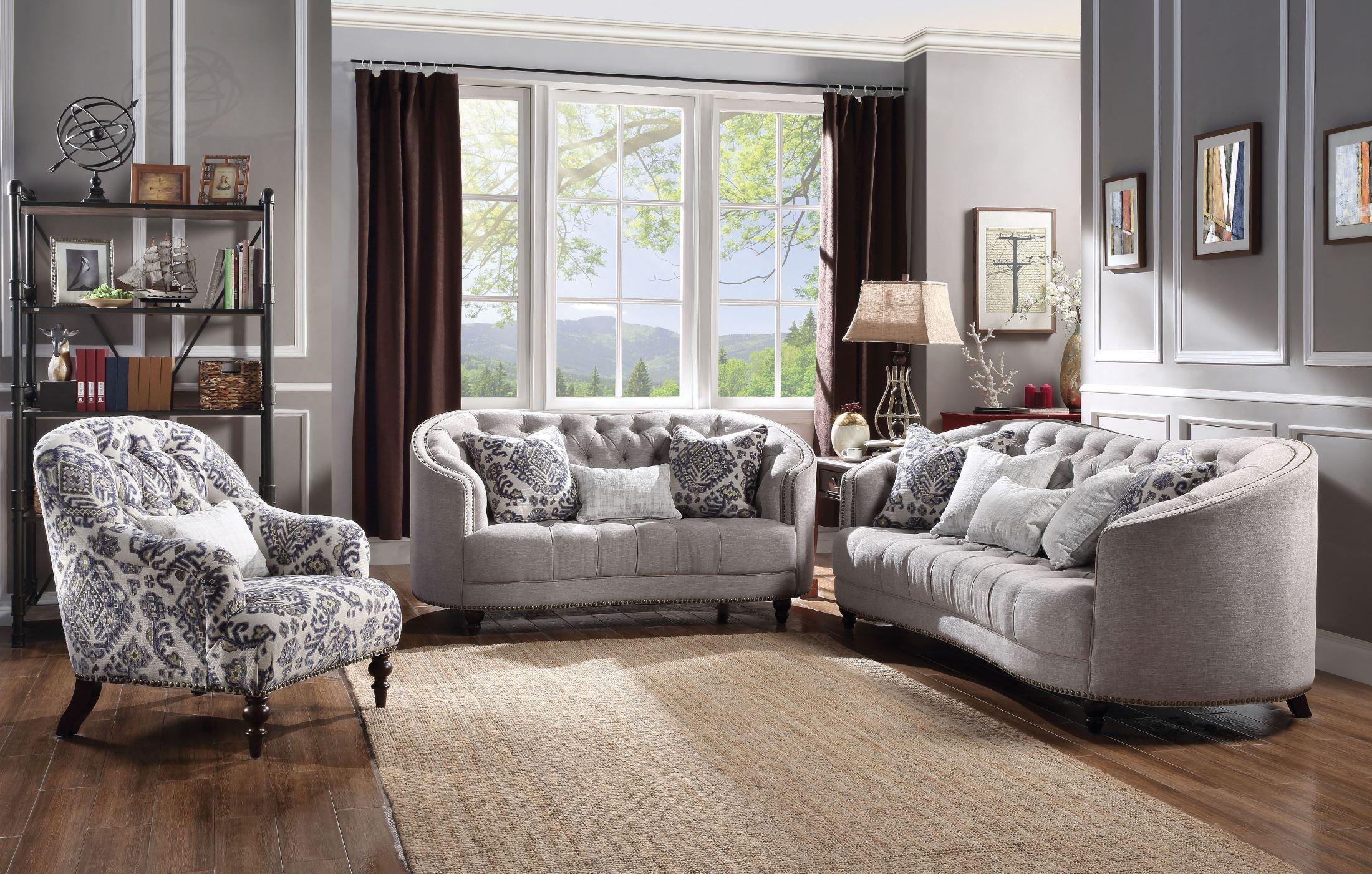 Saira Light Gray Living Room Set