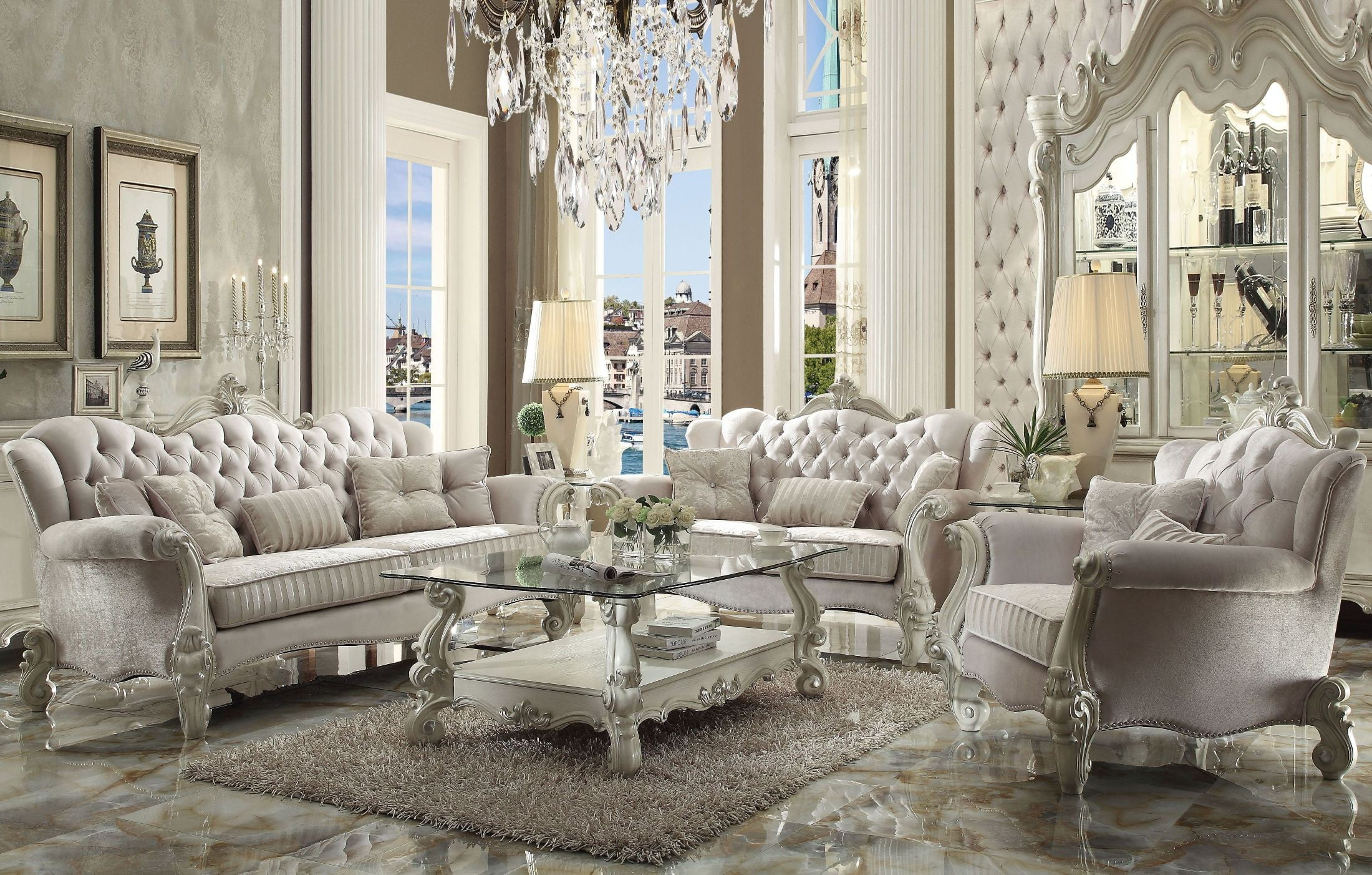 Versailles Ivory Velvet And Bone White Living Room Set From Acme | Coleman  Furniture