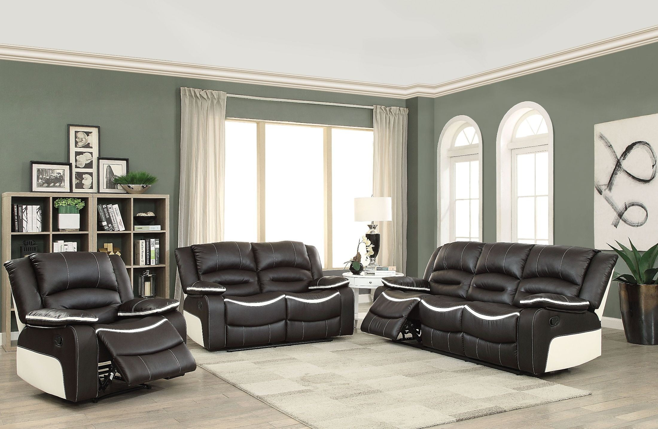 Broderick Ebony and Cream Reclining Living Room Set from Acme ...