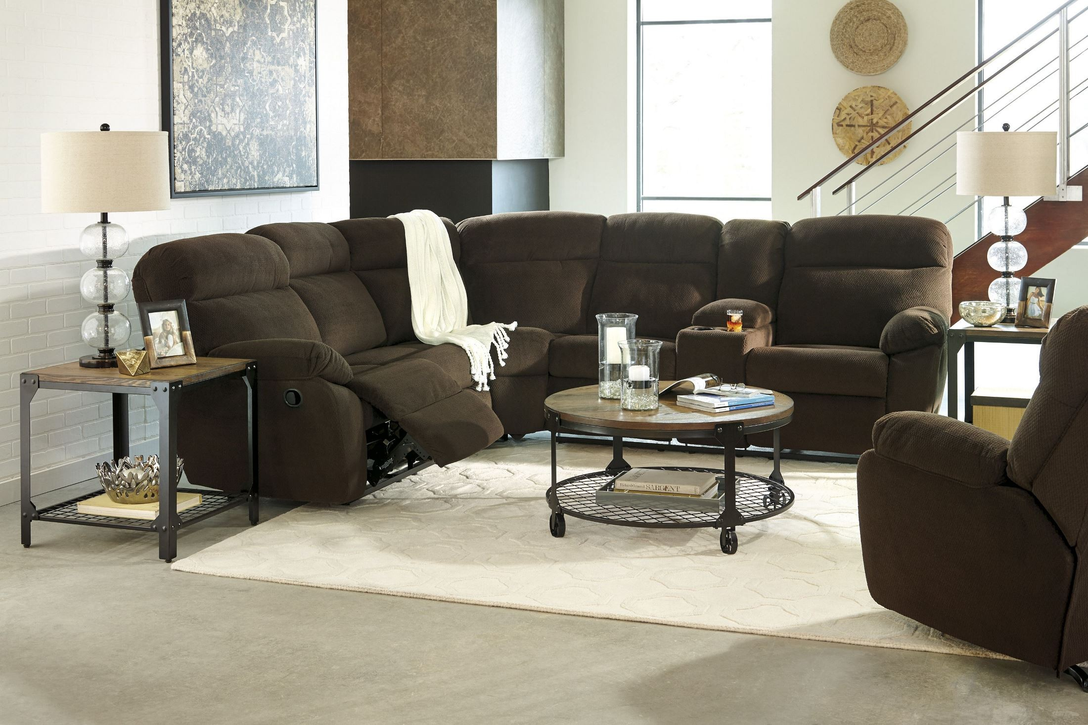 Demarion Chocolate Reclining Sectional from Ashley (52303-48-67 ...