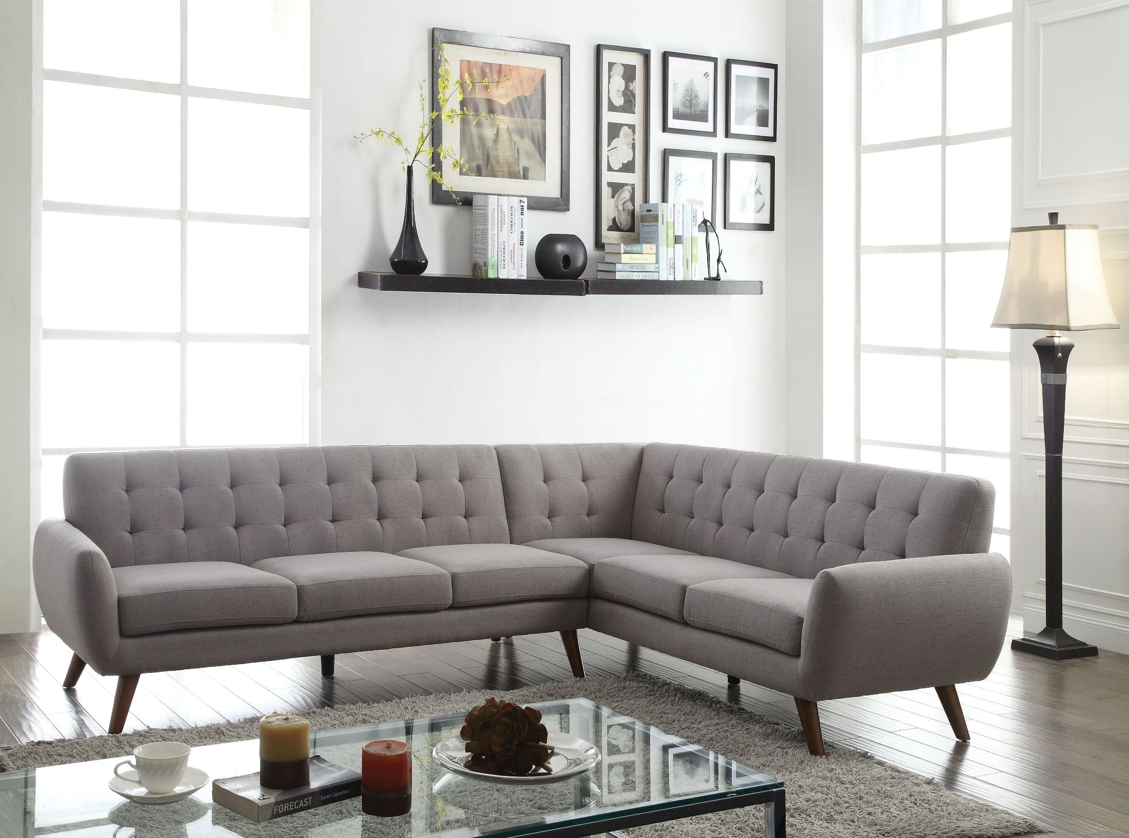 Essick Light Gray Linen Sectional Sofa from Acme | Coleman Furniture