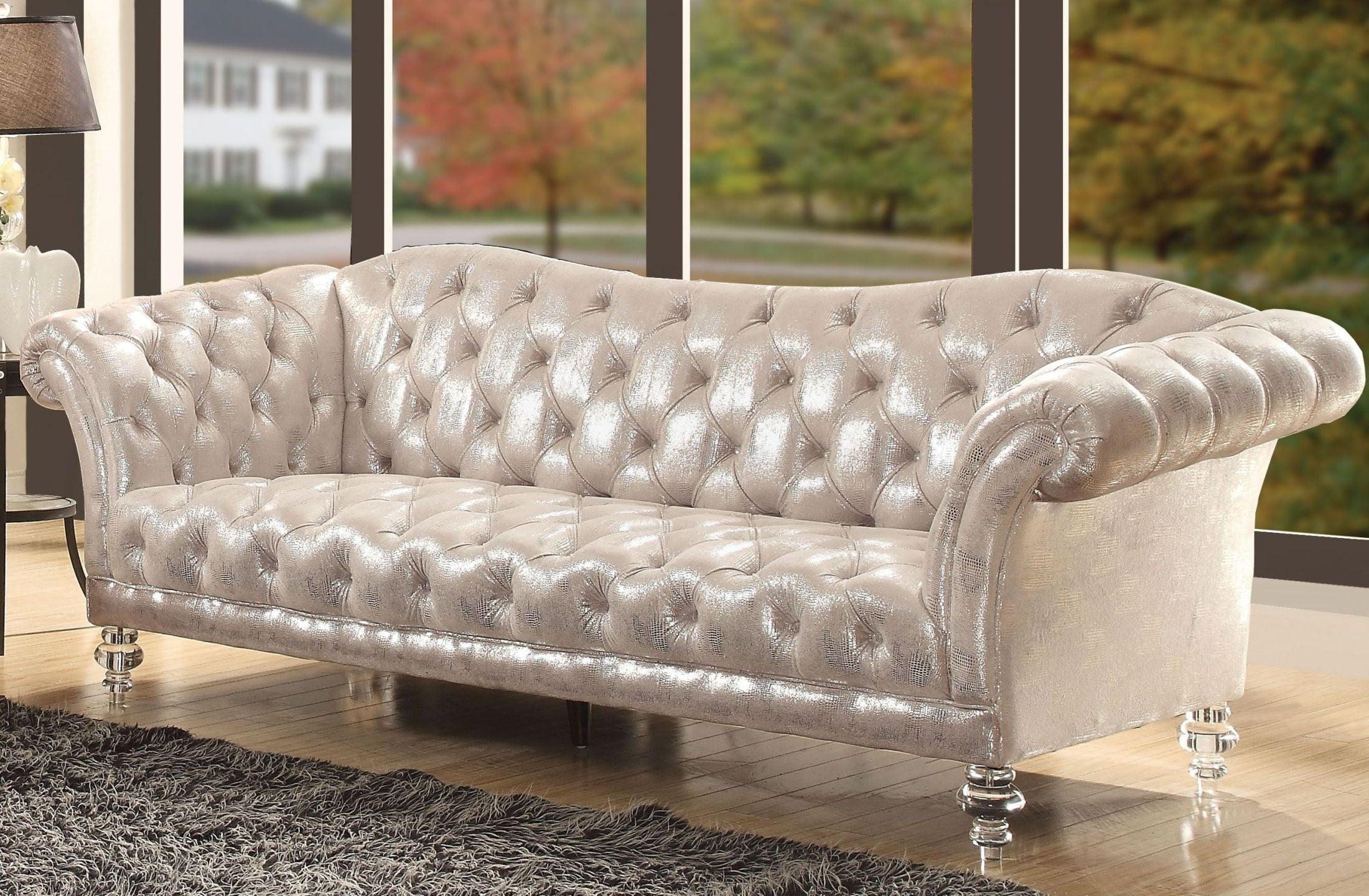 Dixie Metallic Silver Sofa