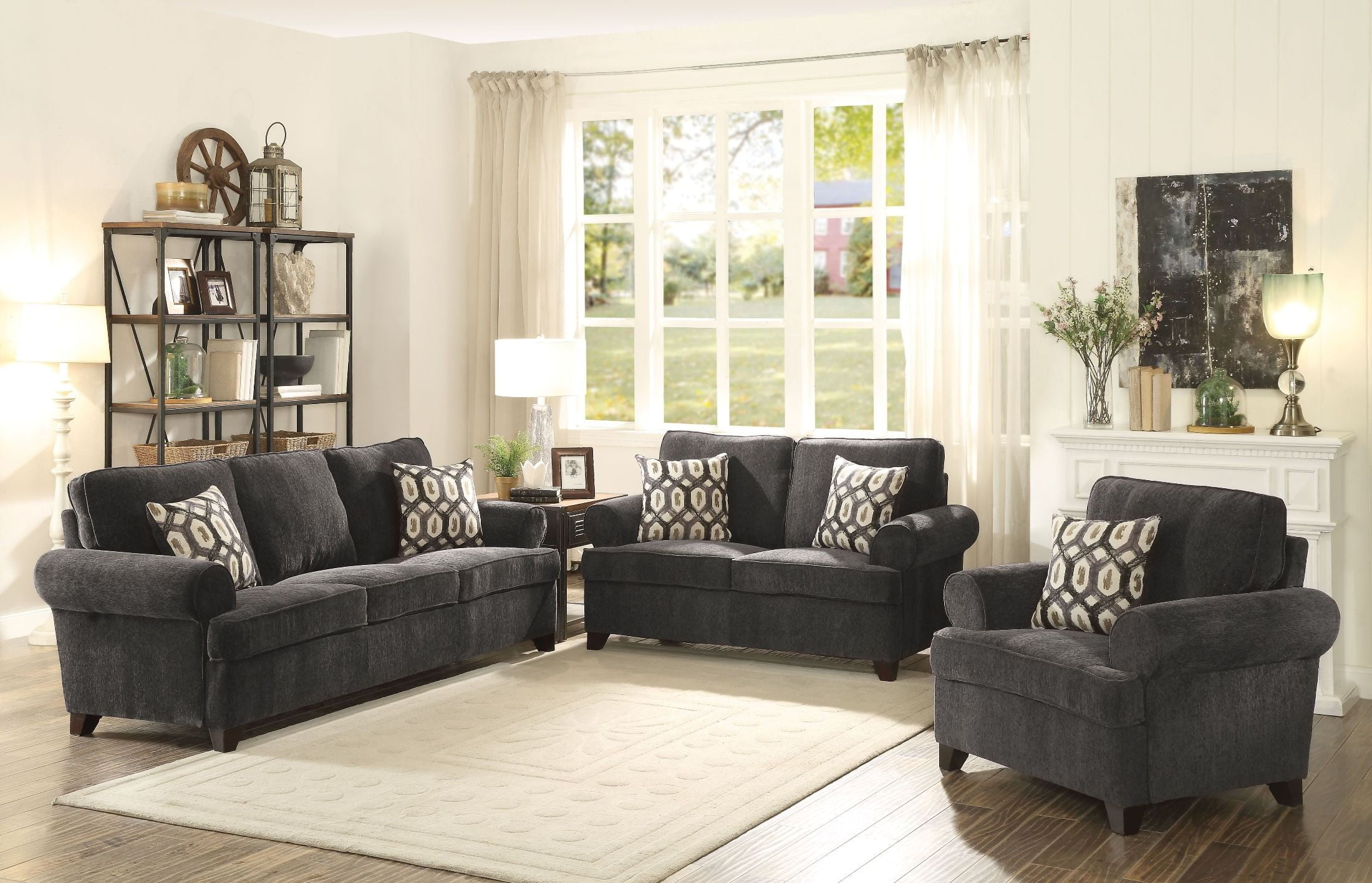 Alessia Dark Gray Chenille Living Room Set from Acme | Coleman Furniture