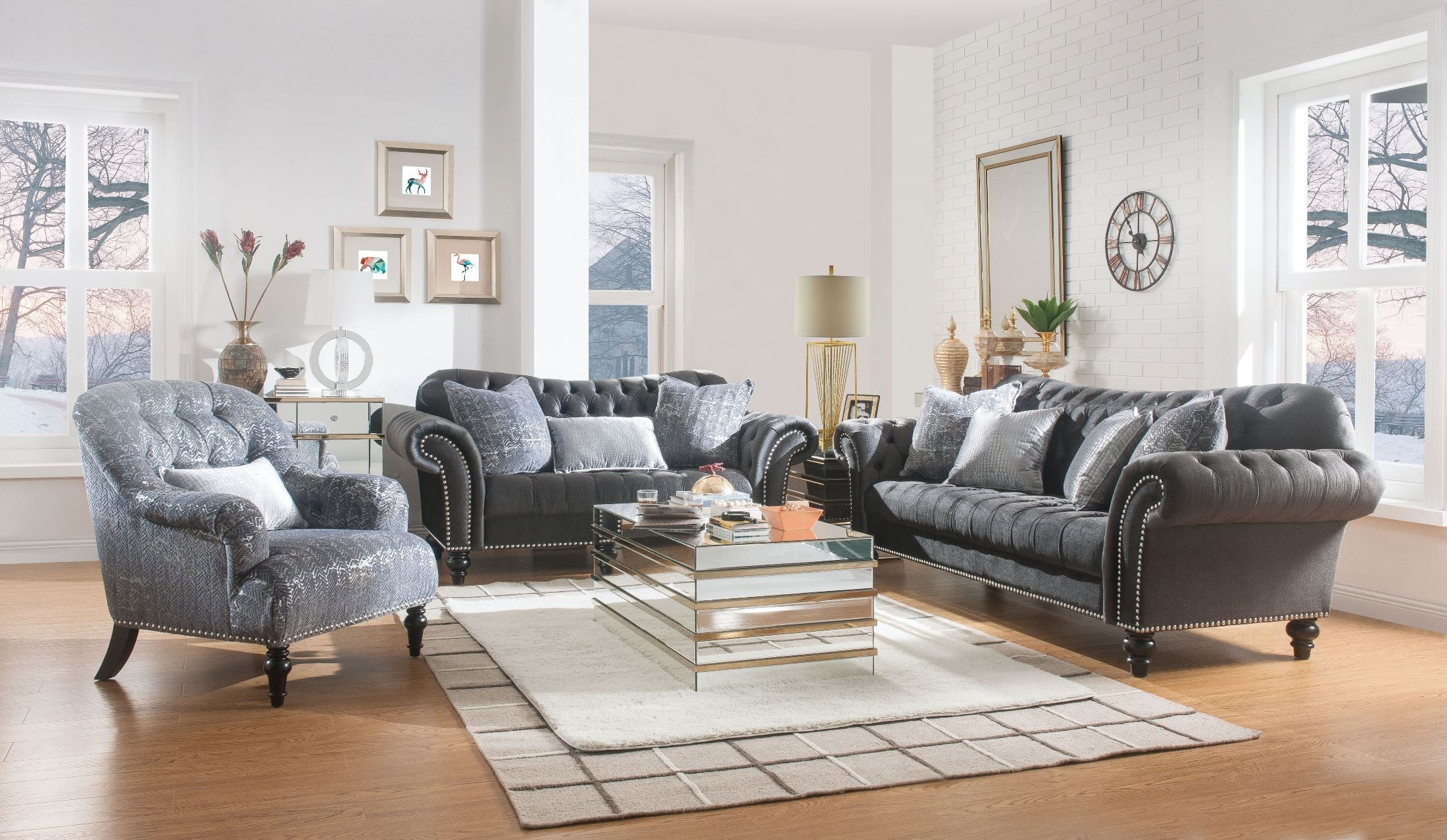 Gaura Dark Gray Living Room Set from ACME Furniture | Coleman Furniture