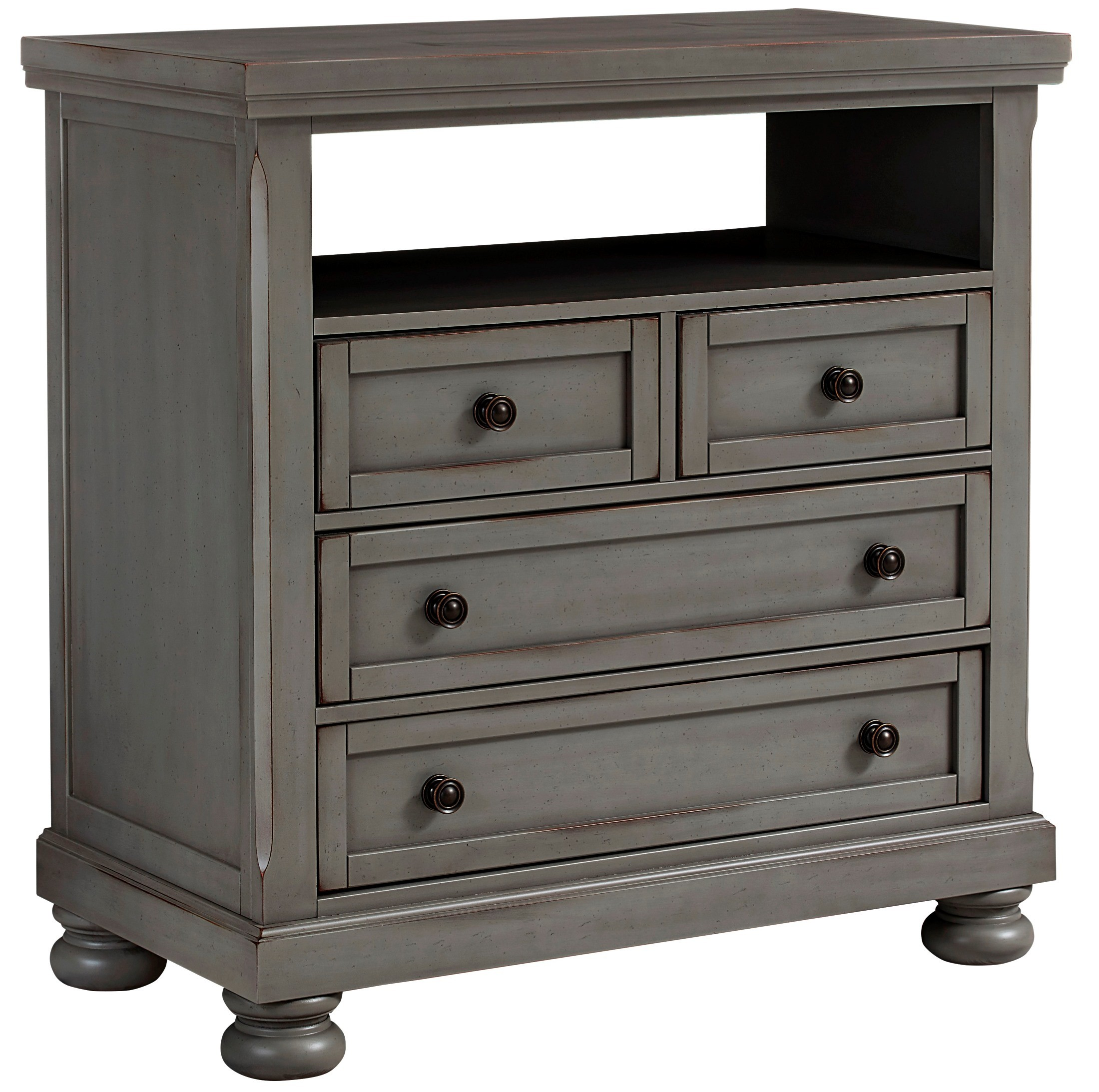 Bassett Coupon: Reflections Antique Pewter Sleigh Storage Bedroom Set From