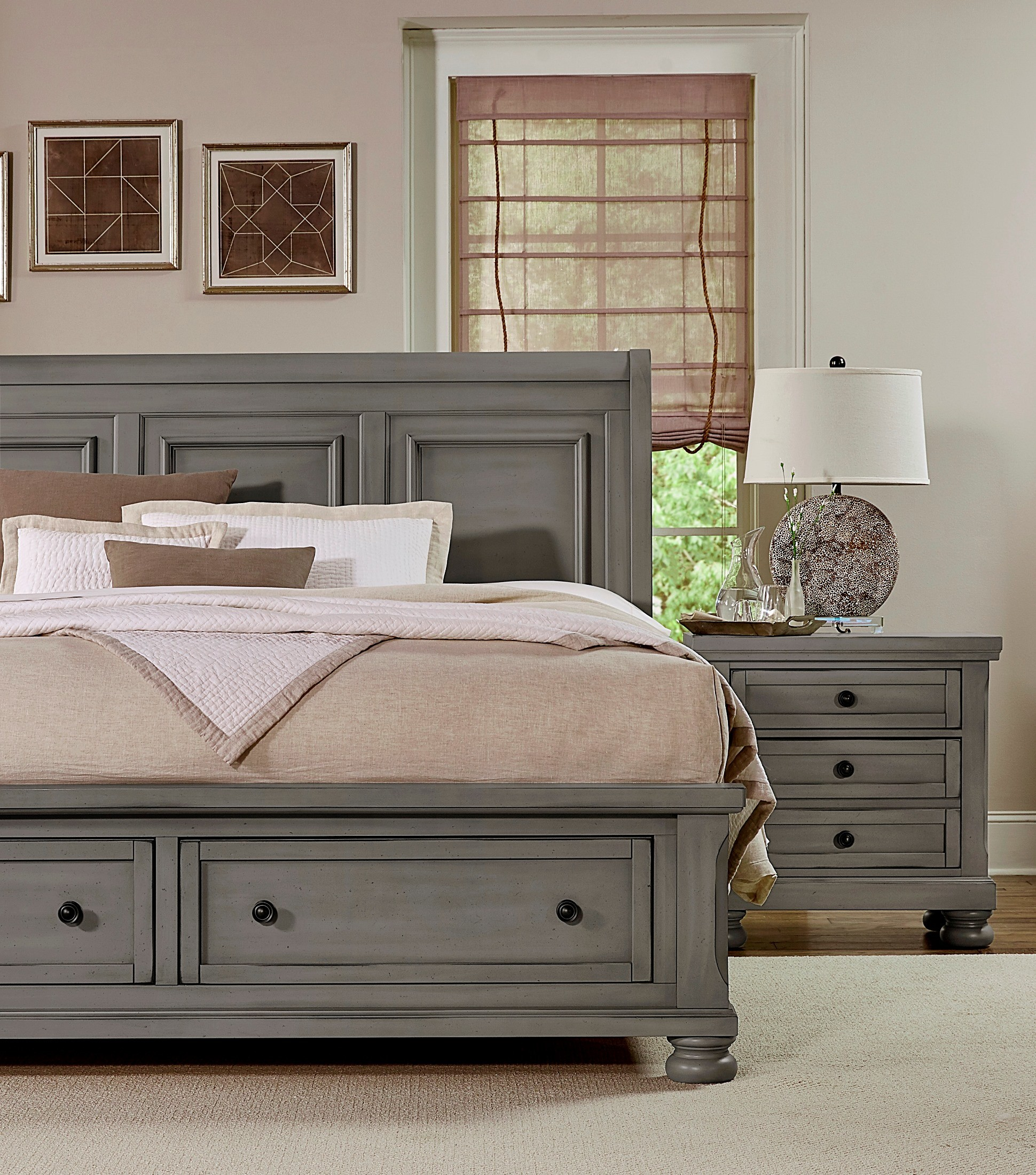 Stylish Soft White King Storage Sleigh Bed Bedroom: Reflections Antique Pewter King Sleigh Storage Bed From