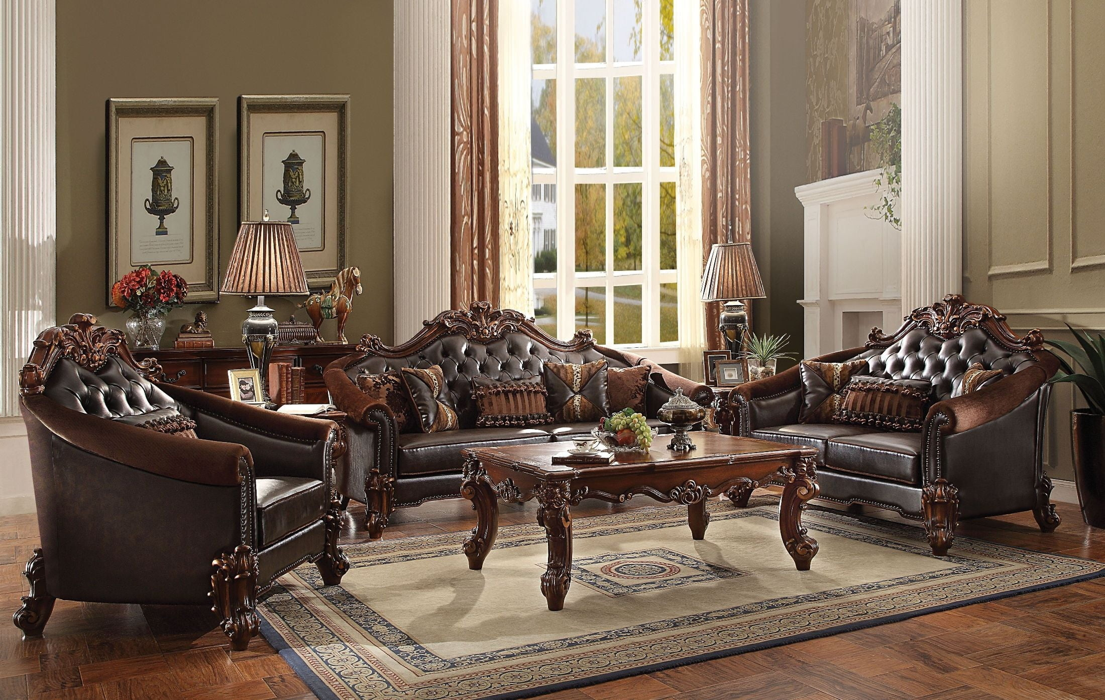 Vendome II Two Tone Dark Brown Cherry Living Room Set From Acme | Coleman  Furniture