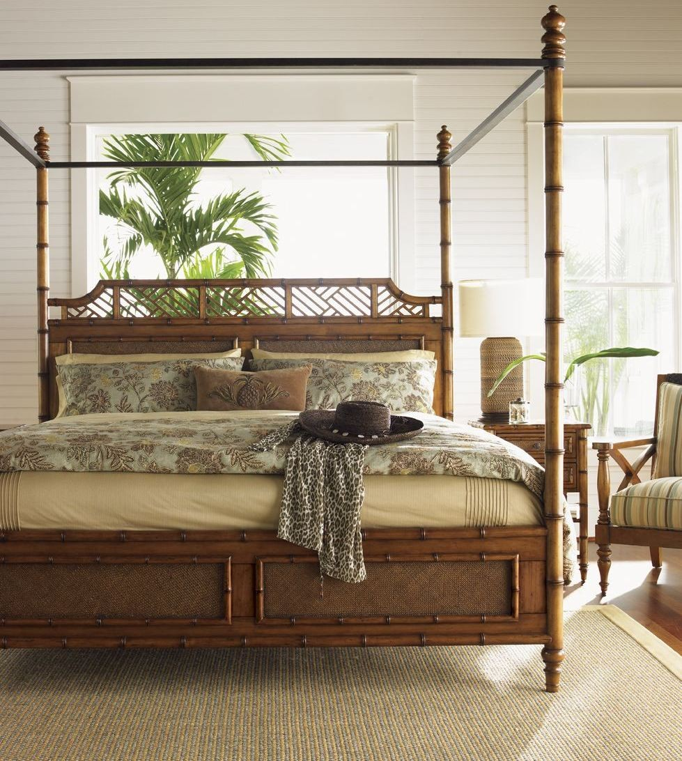 Island Estate Plantation Brown West Indies Canopy Bedroom