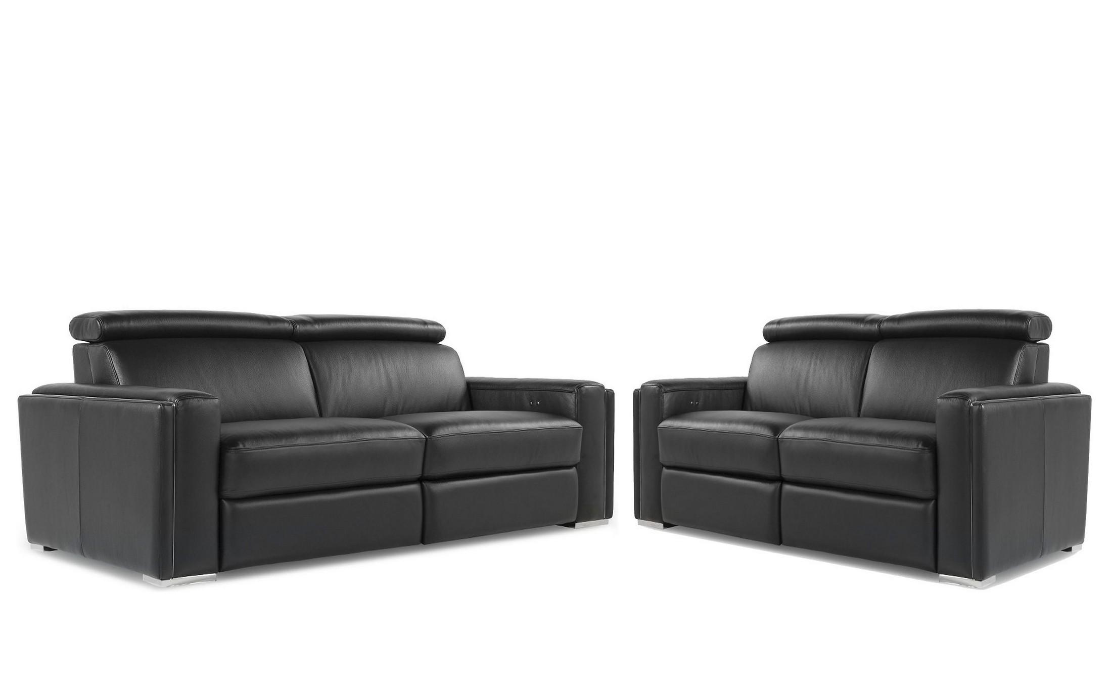 Ellie Black Top Grain Leather Reclining Living Room Set