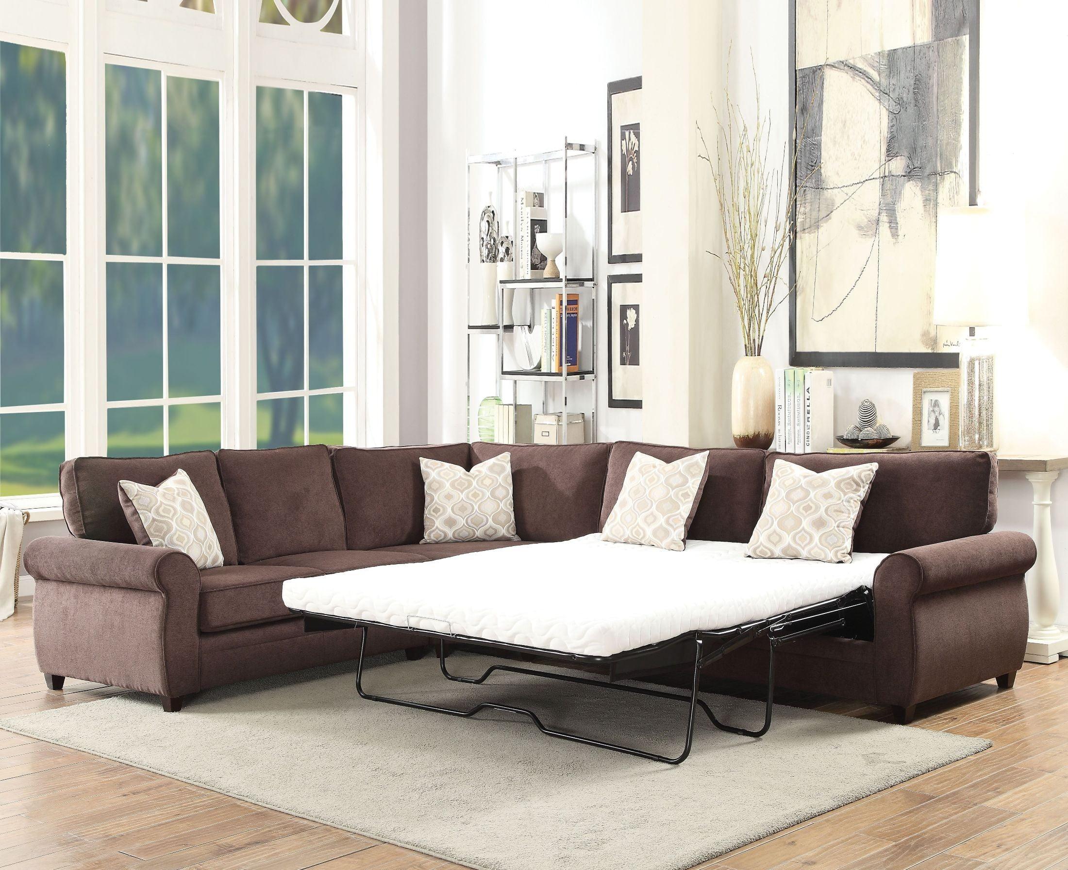 Randolph Chocolate Chenille Sectional Sofa Sleeper from Acme ...