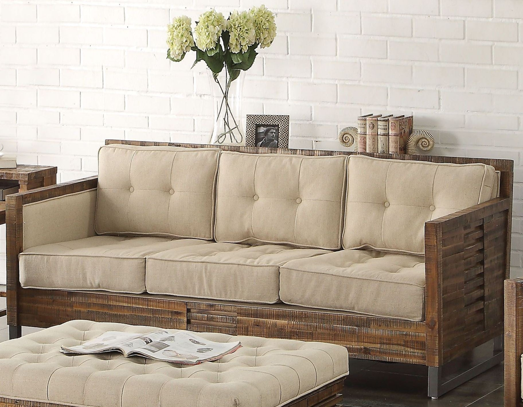 Andria Beige Linen and Reclaimed Oak Sofa from Acme | Coleman Furniture