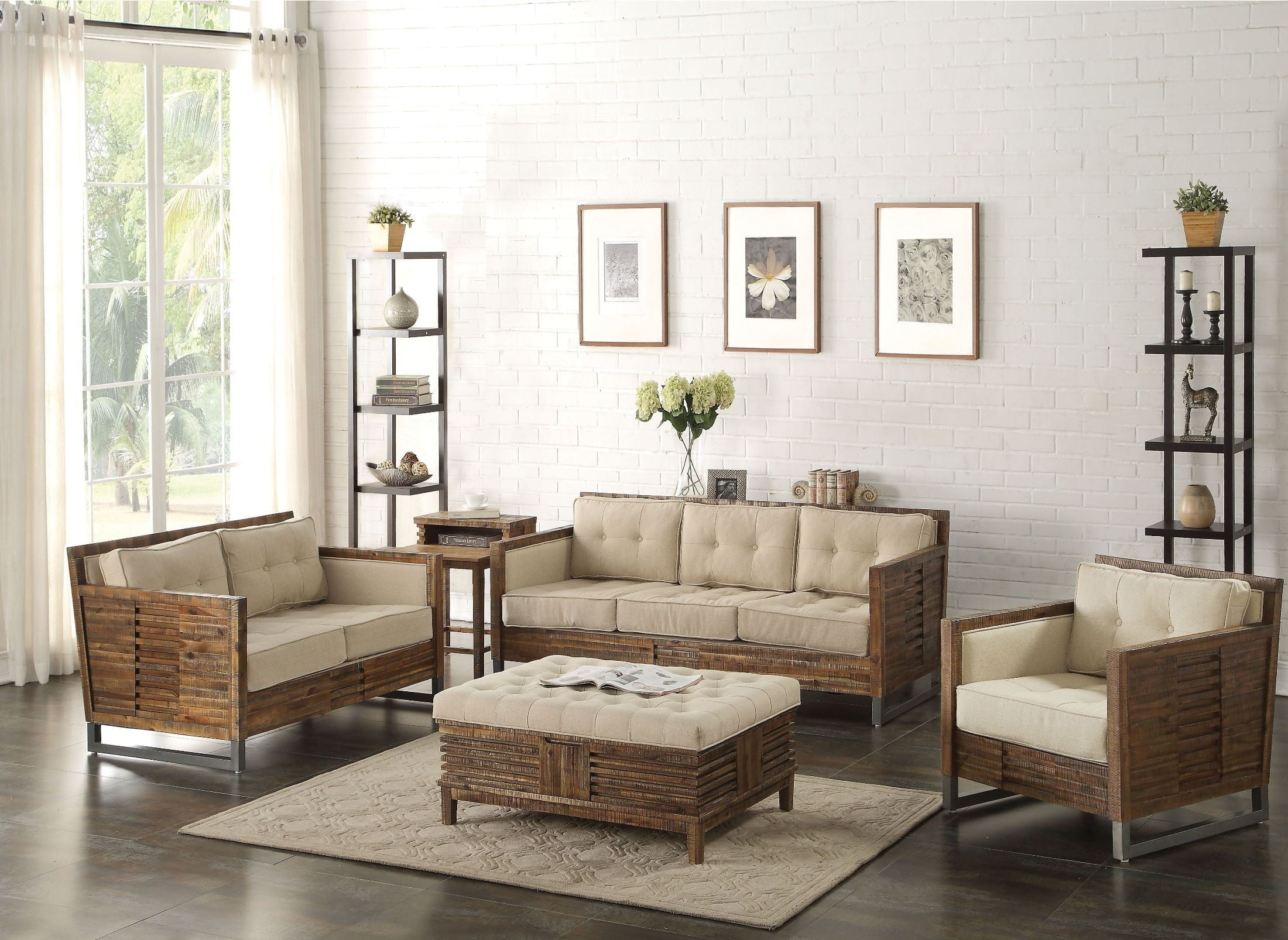 Andria Beige Linen and Reclaimed Oak Living Room Set from Acme ...