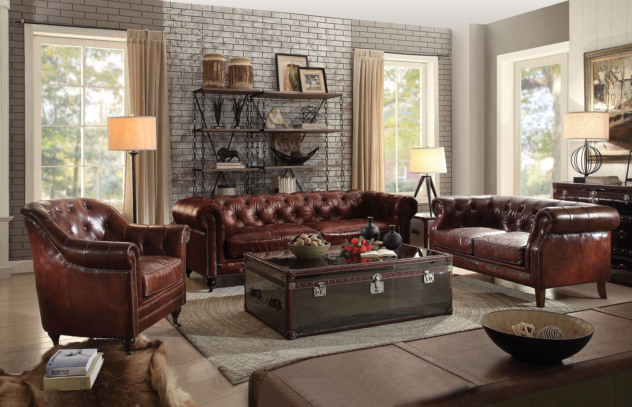 Aberdeen Vintage Dark Brown Leather Occasional Table Set from Acme